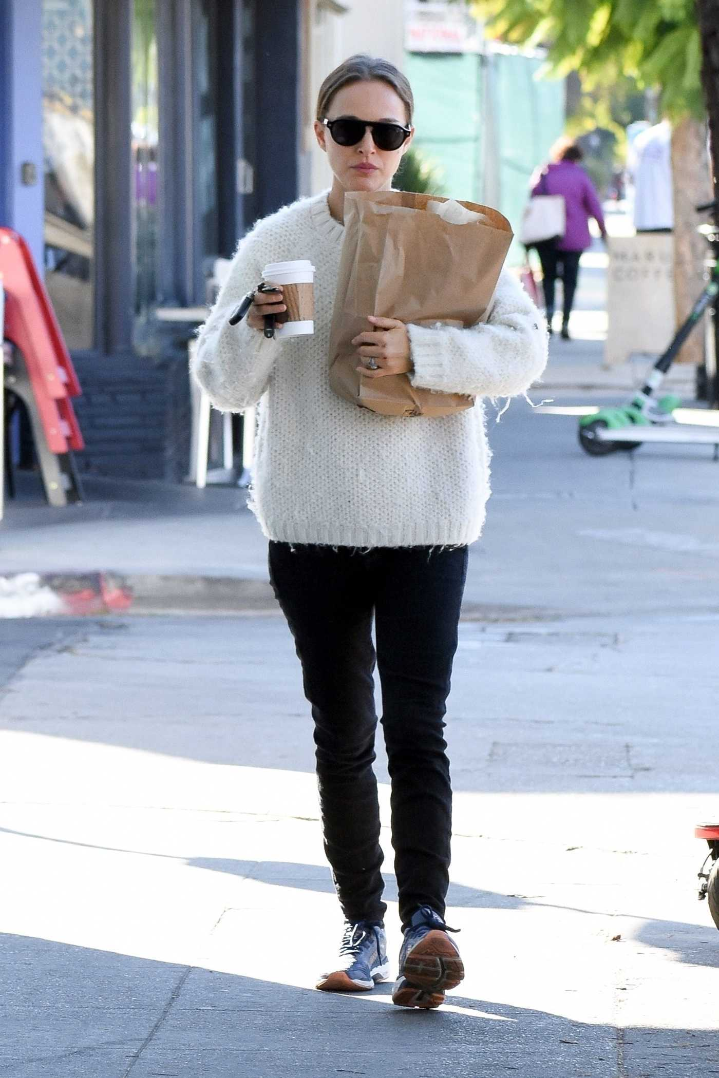 Natalie Portman in a White Sweater Does a Morning Grocery Run in Los Feliz 01/04/2019