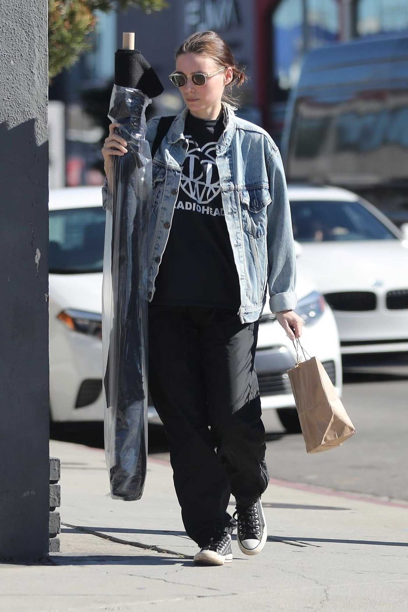 Rooney Mara in a Blue Denim Jacket Out Shopping in West Hollywood 01/25/2019
