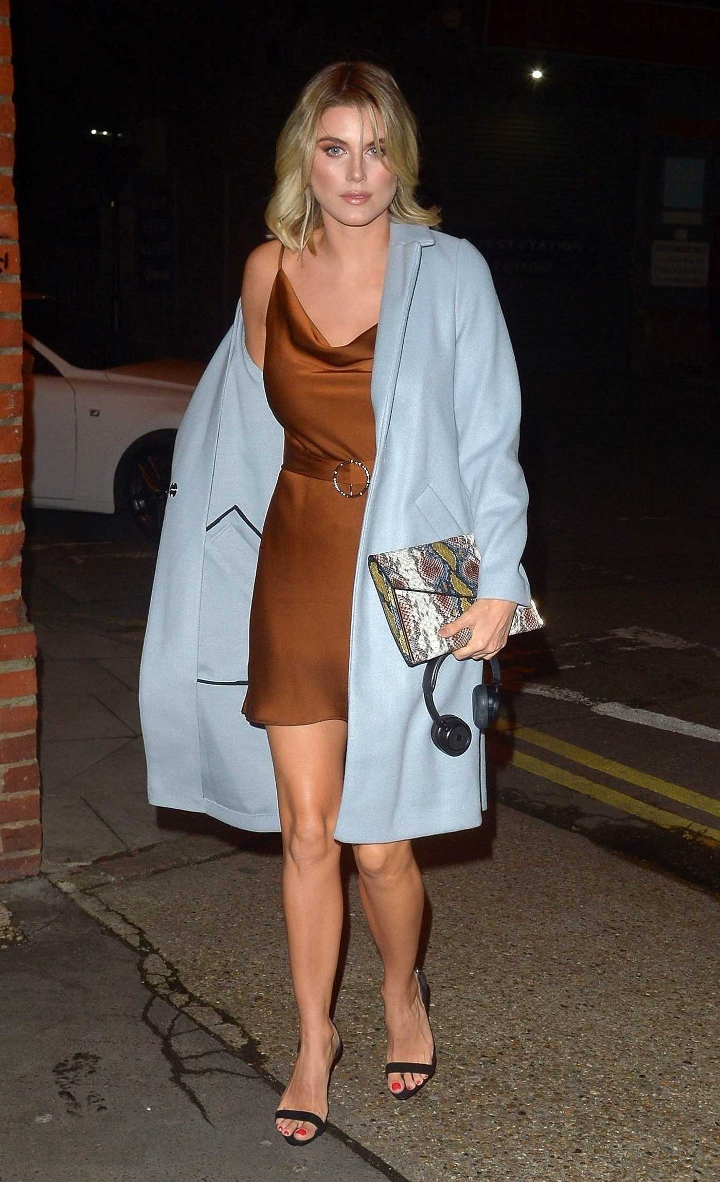 Ashley James in a Blue Coat Was Seen Out in London 02/02/2019