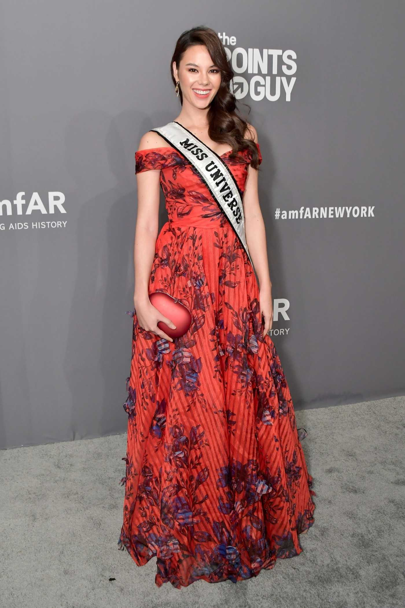Catriona Gray Attends 2019 amfAR New York Gala at Cipriani Wall Street in New York City 02/06/2019