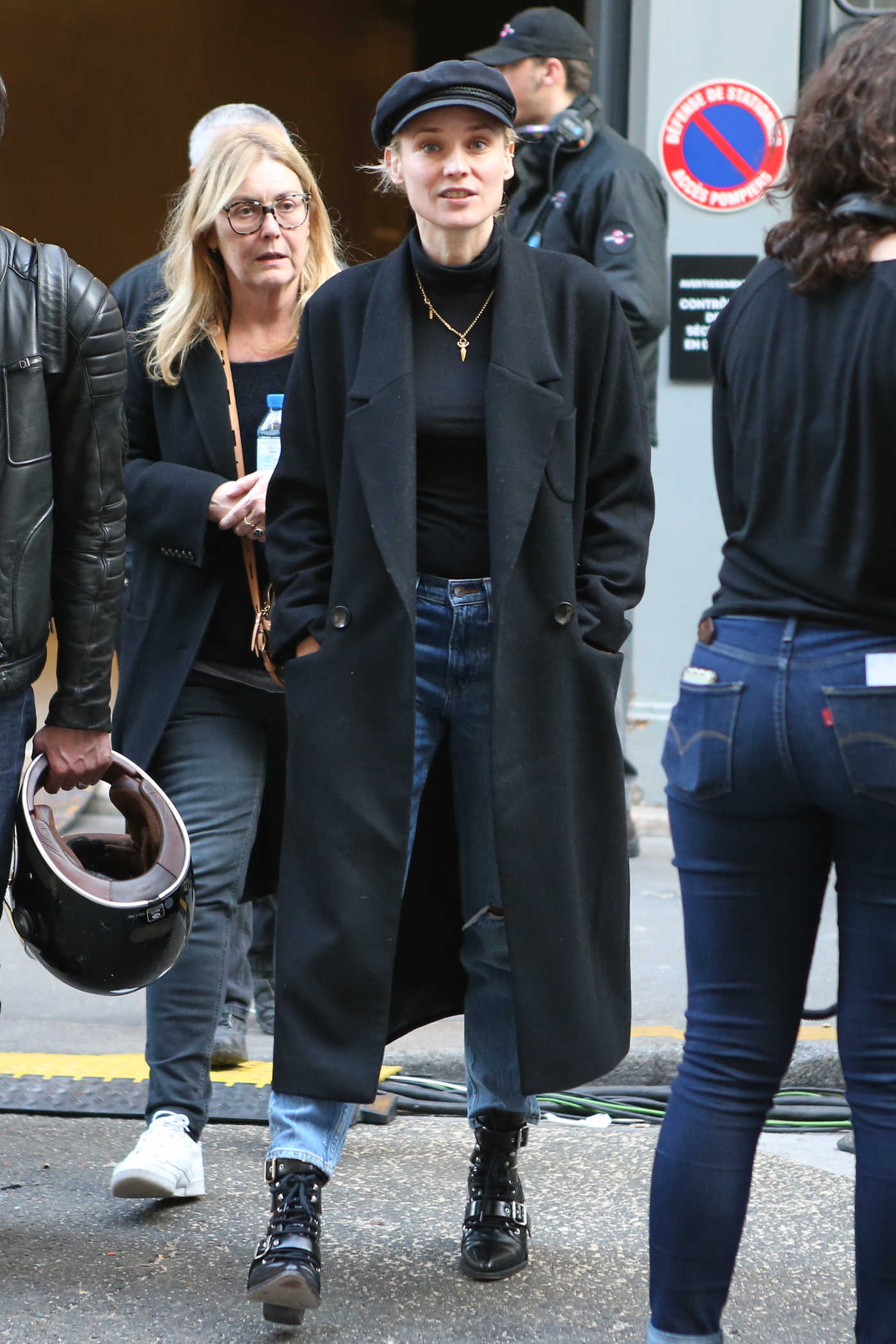 Diane Kruger in a Black Coat Was Seen Out in Paris 02/22/2019