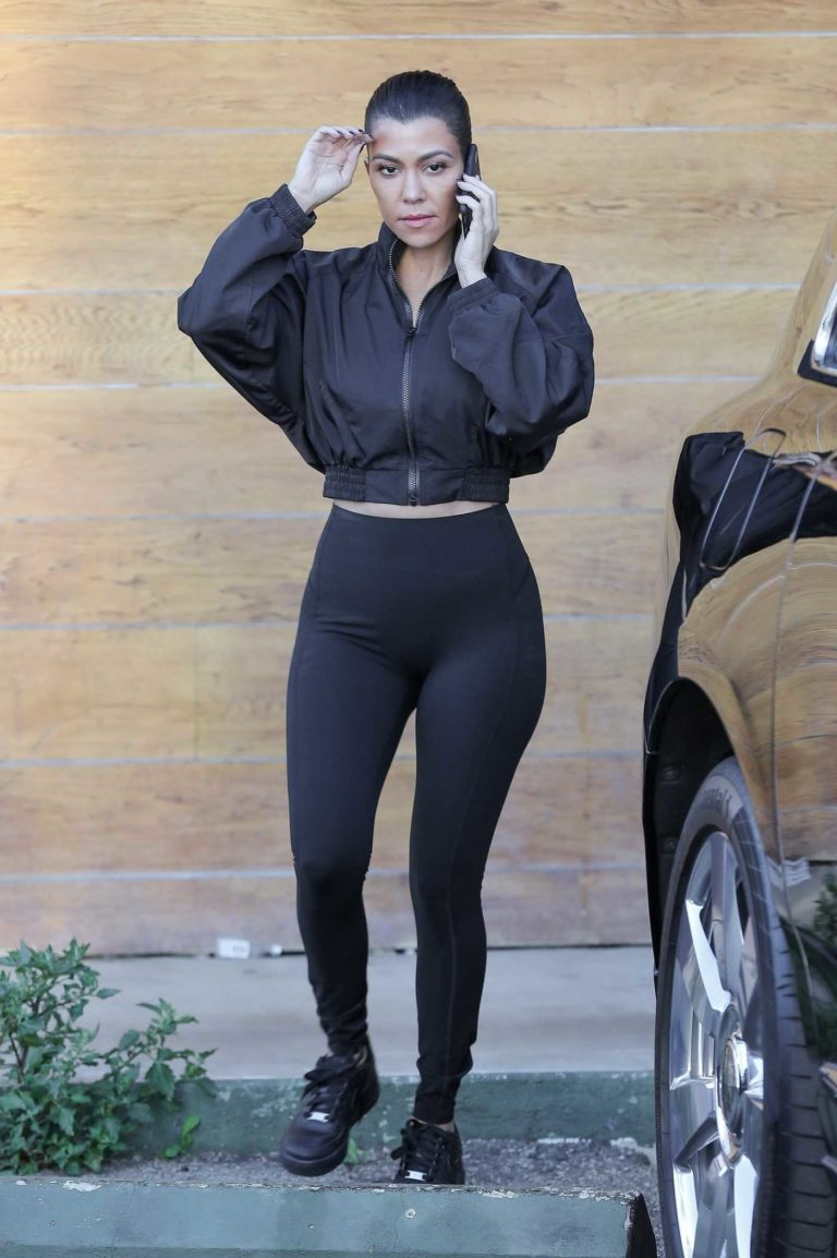Kourtney Kardashian in a Short Black Jacket