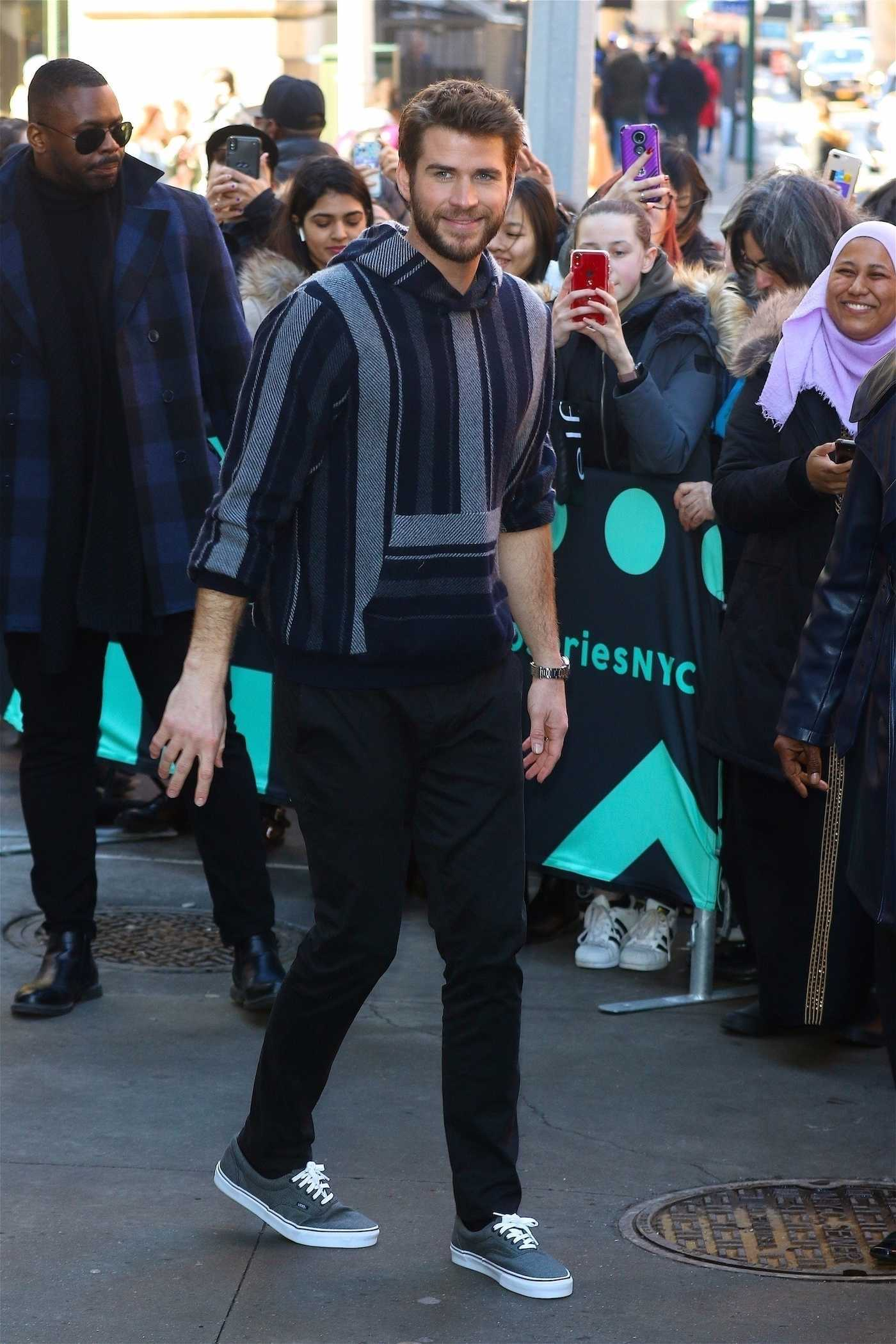 Liam Hemsworth Arrives at AOL Build Series Studios in New York 02/12/2019