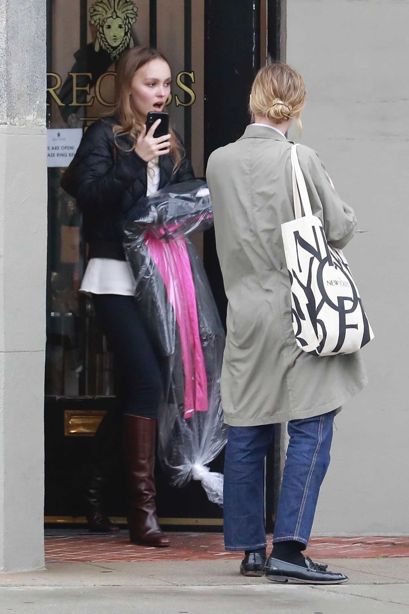 Lily-Rose Depp in a Black Jacket Goes Shopping with a Friend in Los Angeles 02/02/2019