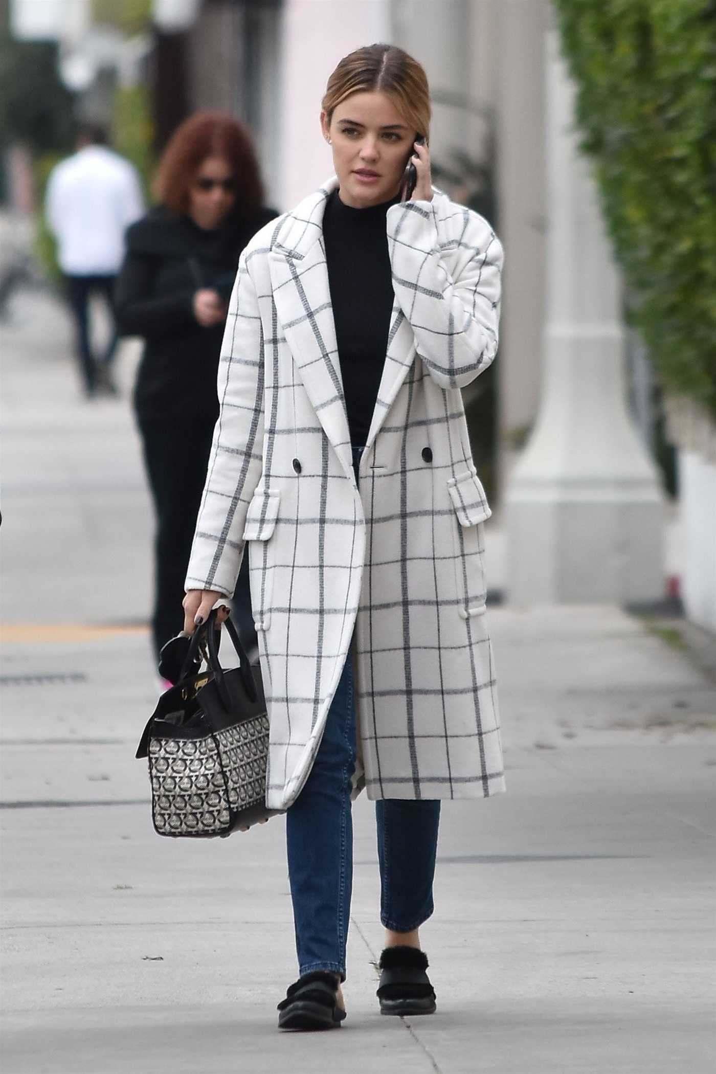 Lucy Hale in a White Plaid Coat Was Seen Out in Studio City 02/20/2019