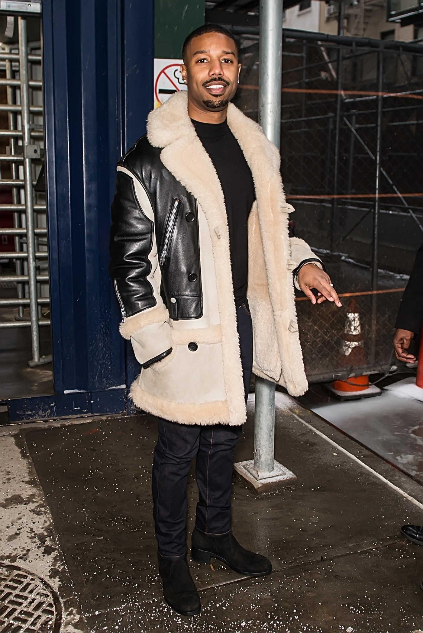 Michael B Jordan in a Sheepskin Coat Was Seen During NYFW in NYC 02/12/2019