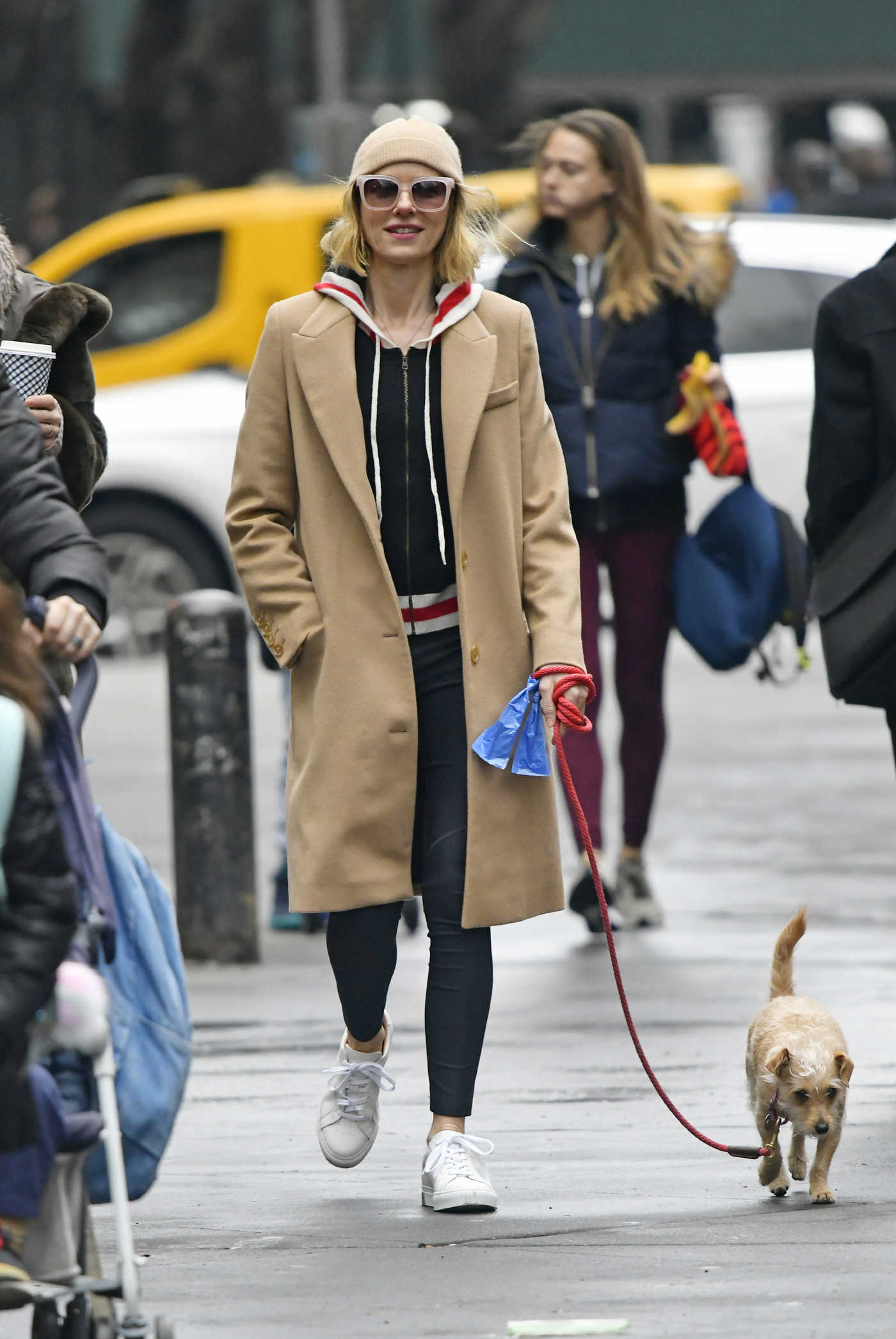 Naomi Watts in a Beige Coat Walks Her Dog Out in New York 02/07/2019