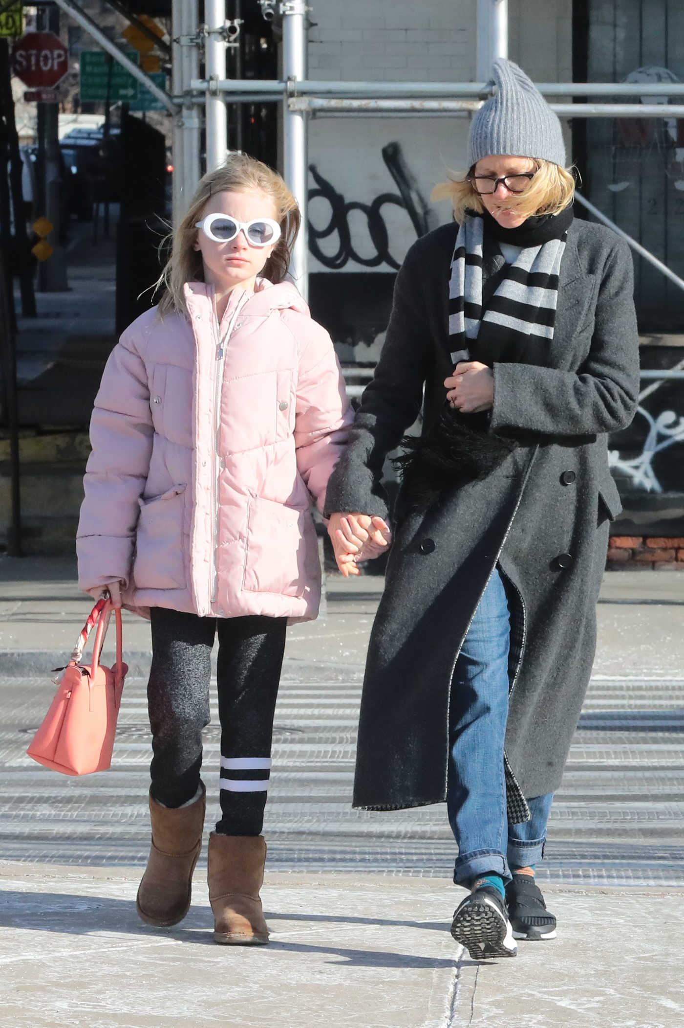 Naomi Watts in a Gray Knit Hat Was Seen Out with Her Daughter in New York 02/02/2019