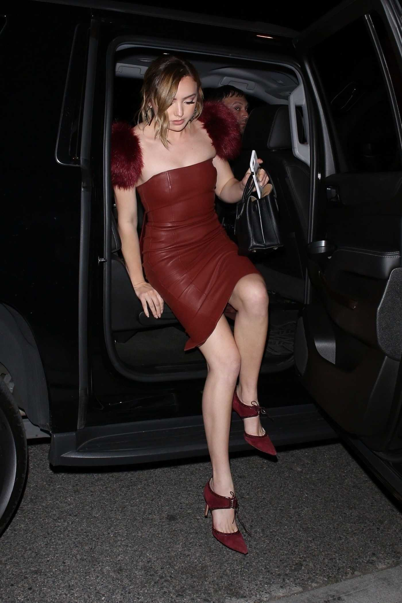 Peyton List in a Brown Leather Dress Arrives for the Vanity Fair Party in LA 02/19/2019