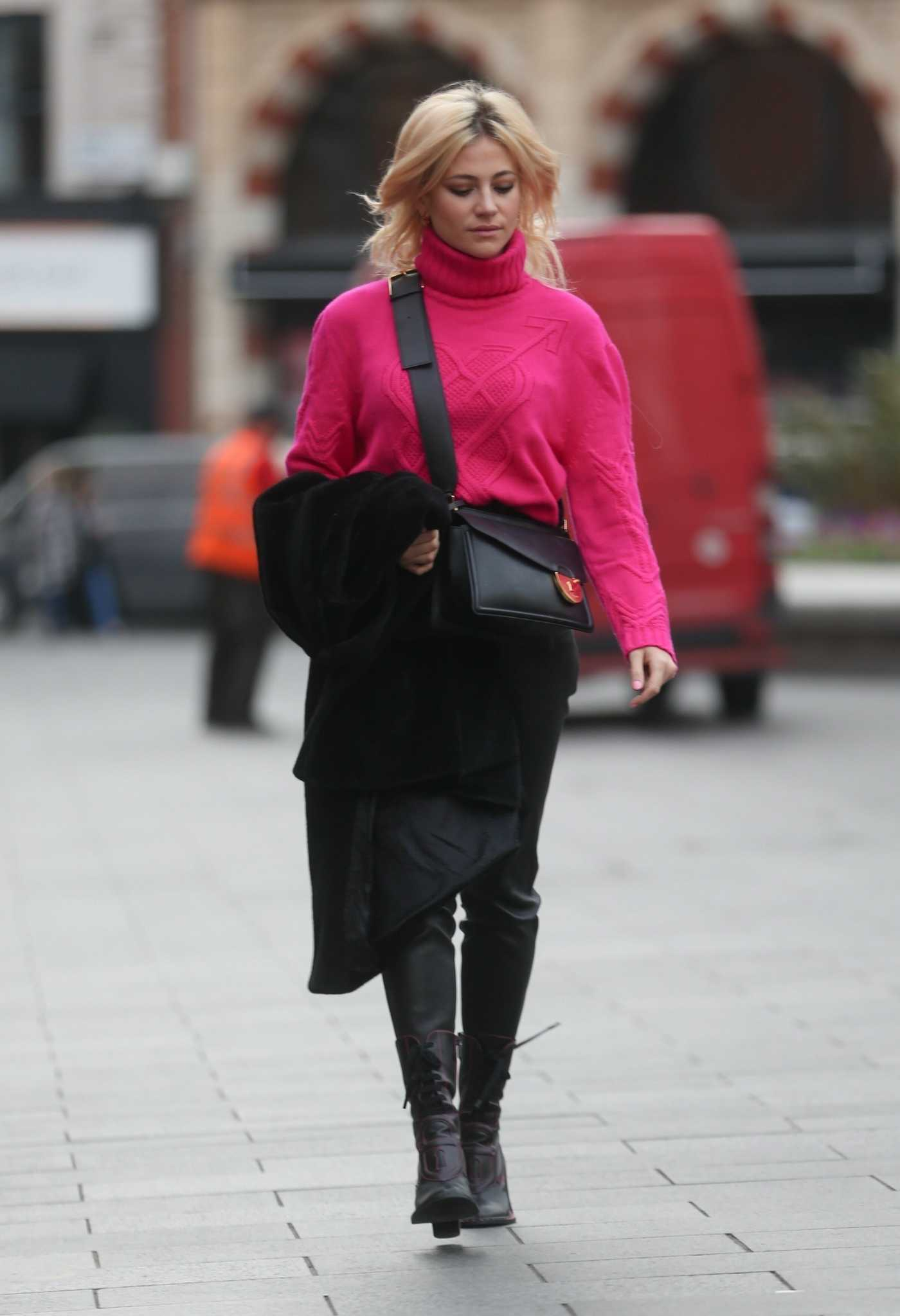 Pixie Lott in a Pink Sweater Was Seen Out in London 02/13/2019