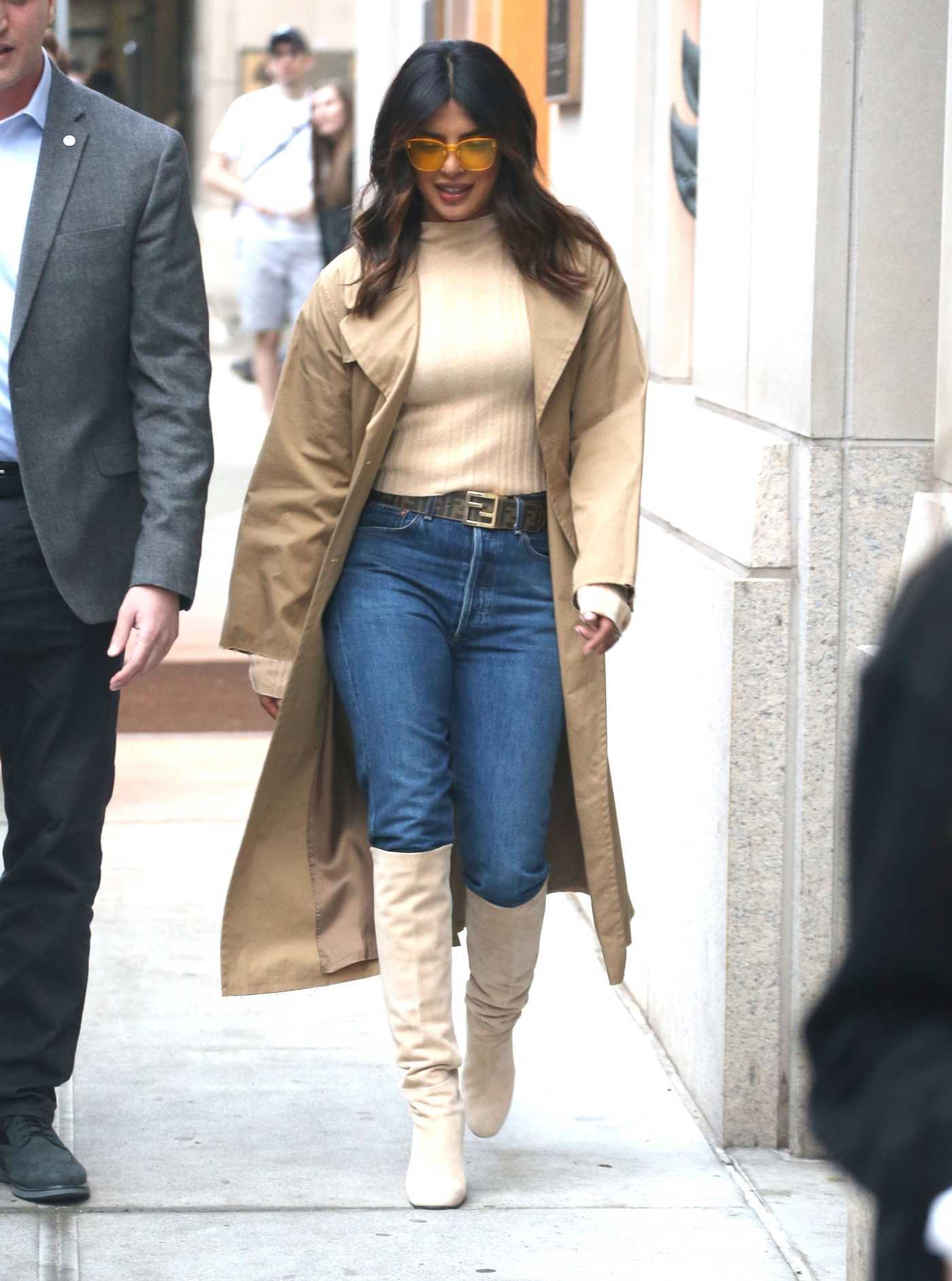 Priyanka Chopra in a Beige Trench Coat Was Seen Out in New York City 02/05/2019