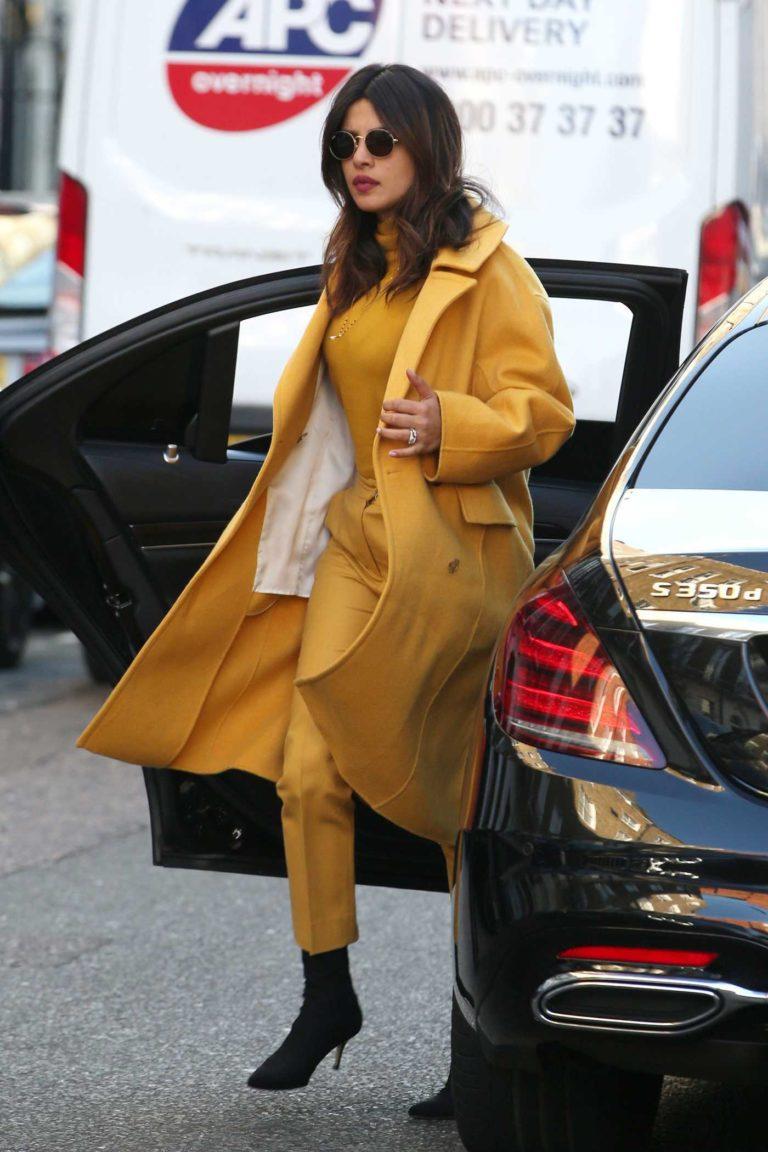 Priyanka Chopra in a Yellow Coat
