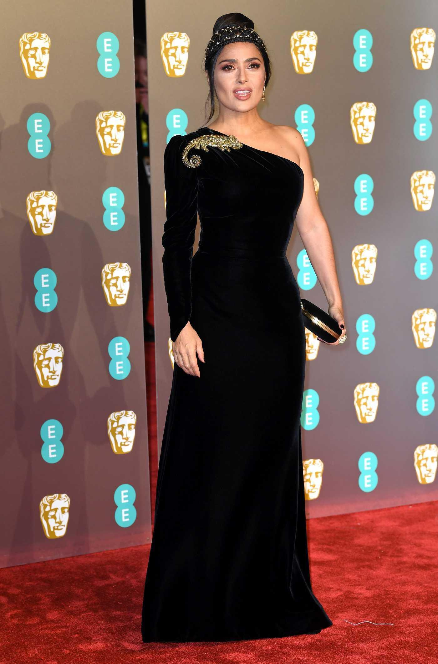Salma Hayek Attends 2019 BAFTA Awards in London 02/10/2019