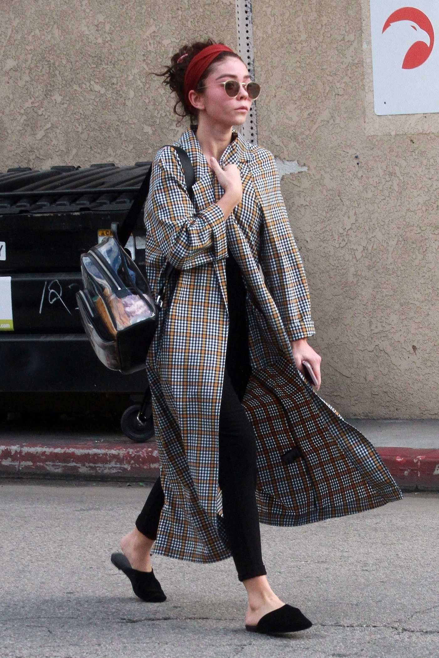 Sarah Hyland in a Plaid Trench Coat Was Seen Out in LA 02/20/2019