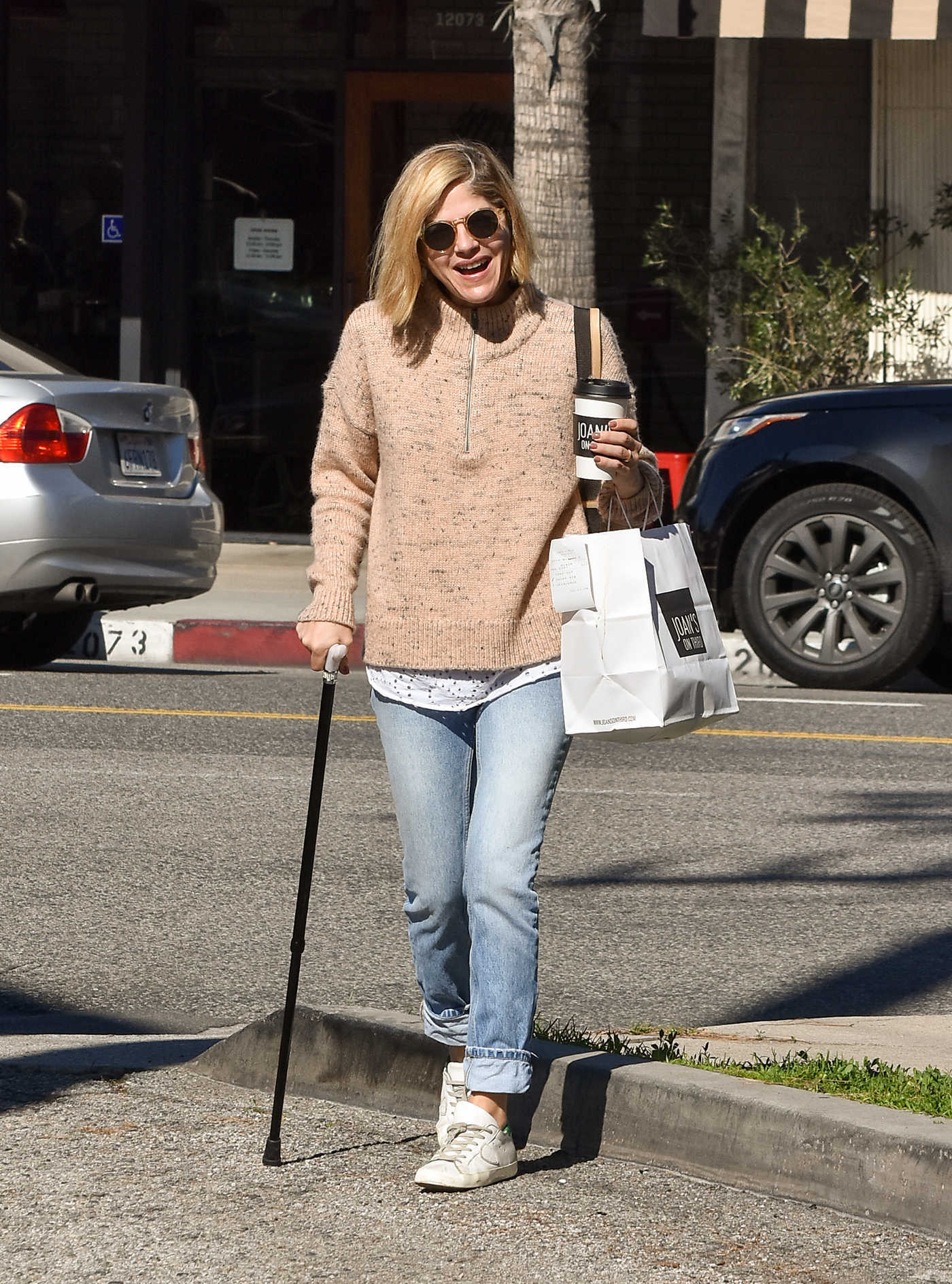 Selma Blair in a Beige Sweater Was Seen Out in Los Angeles 02/07/2019