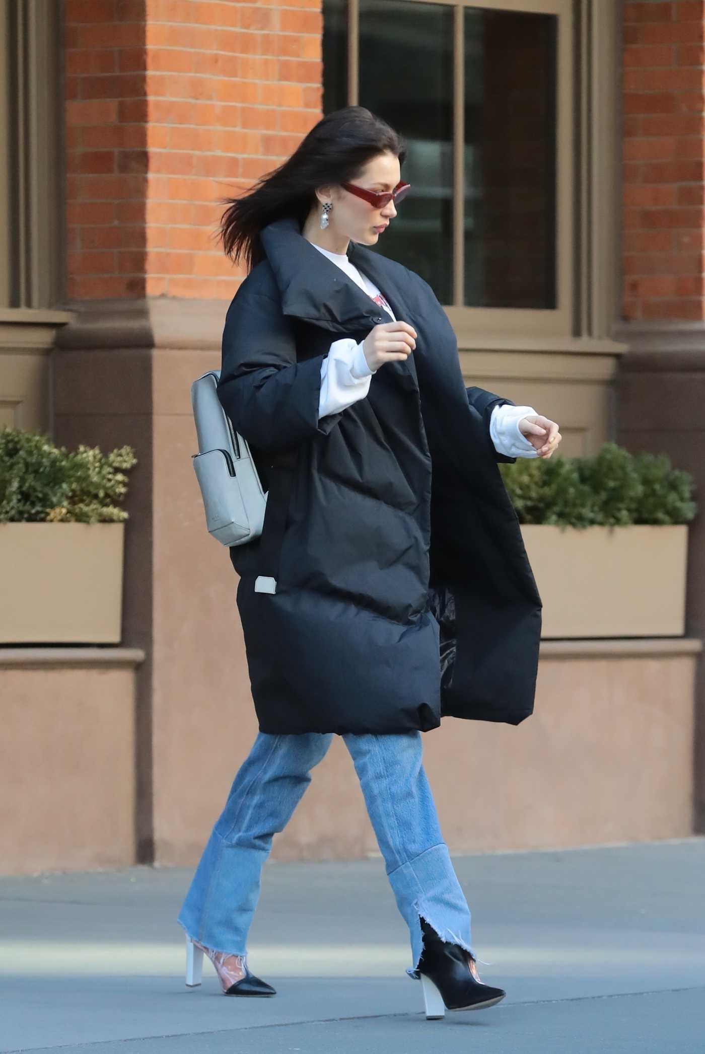 Bella Hadid in a Black Puffer Coat Was Seen Out in NYC 03/19/2019