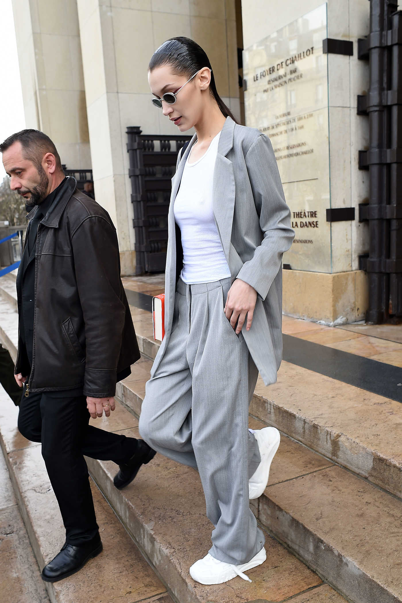 Bella Hadid in a Gray Suit Leaves Ackermann Fashion Show in Paris 03/02/2019