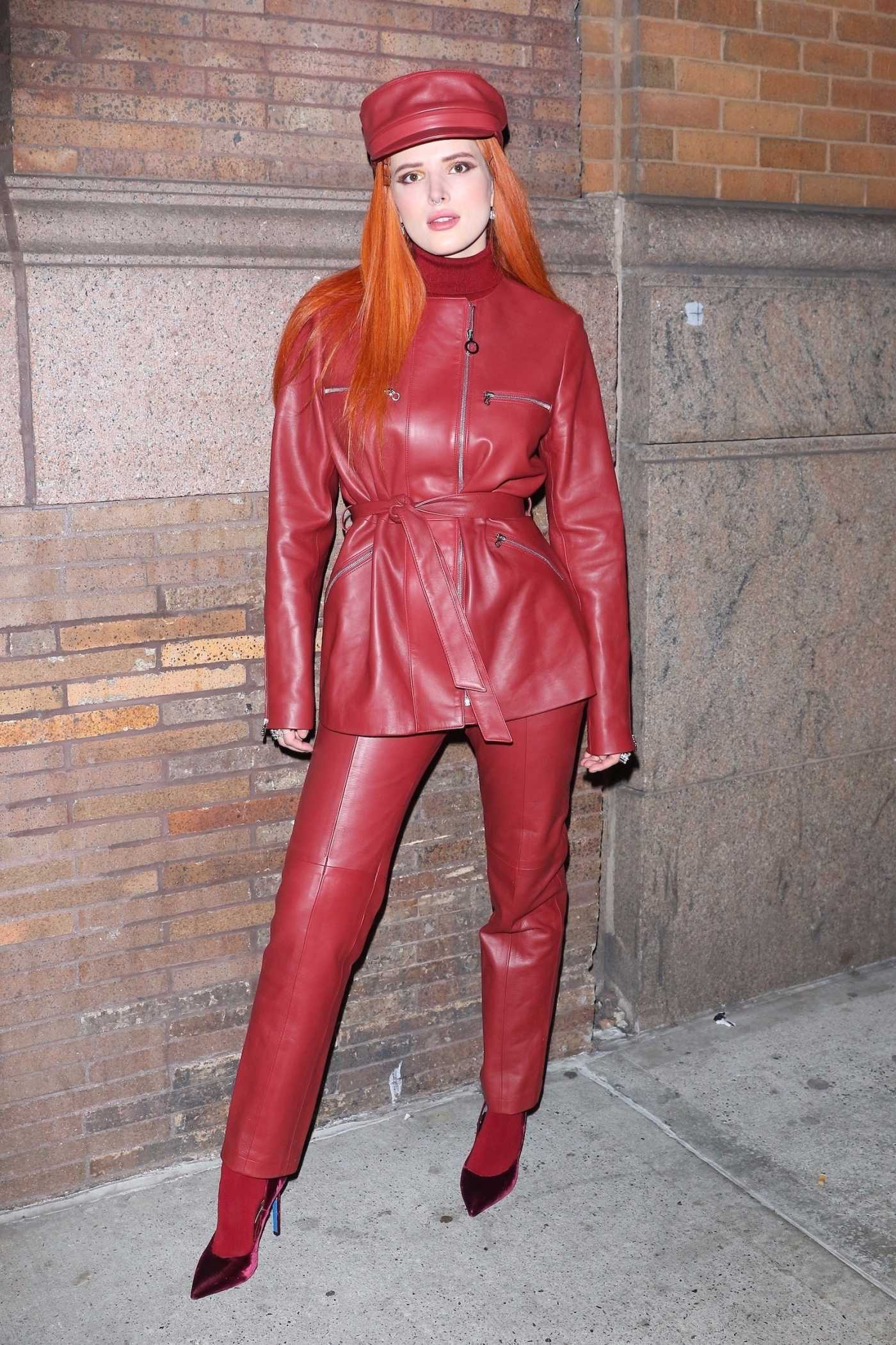Bella Thorne in a Red Leather Suit Leaves Her Performance at Carnegie Hall in NYC 03/25/2019