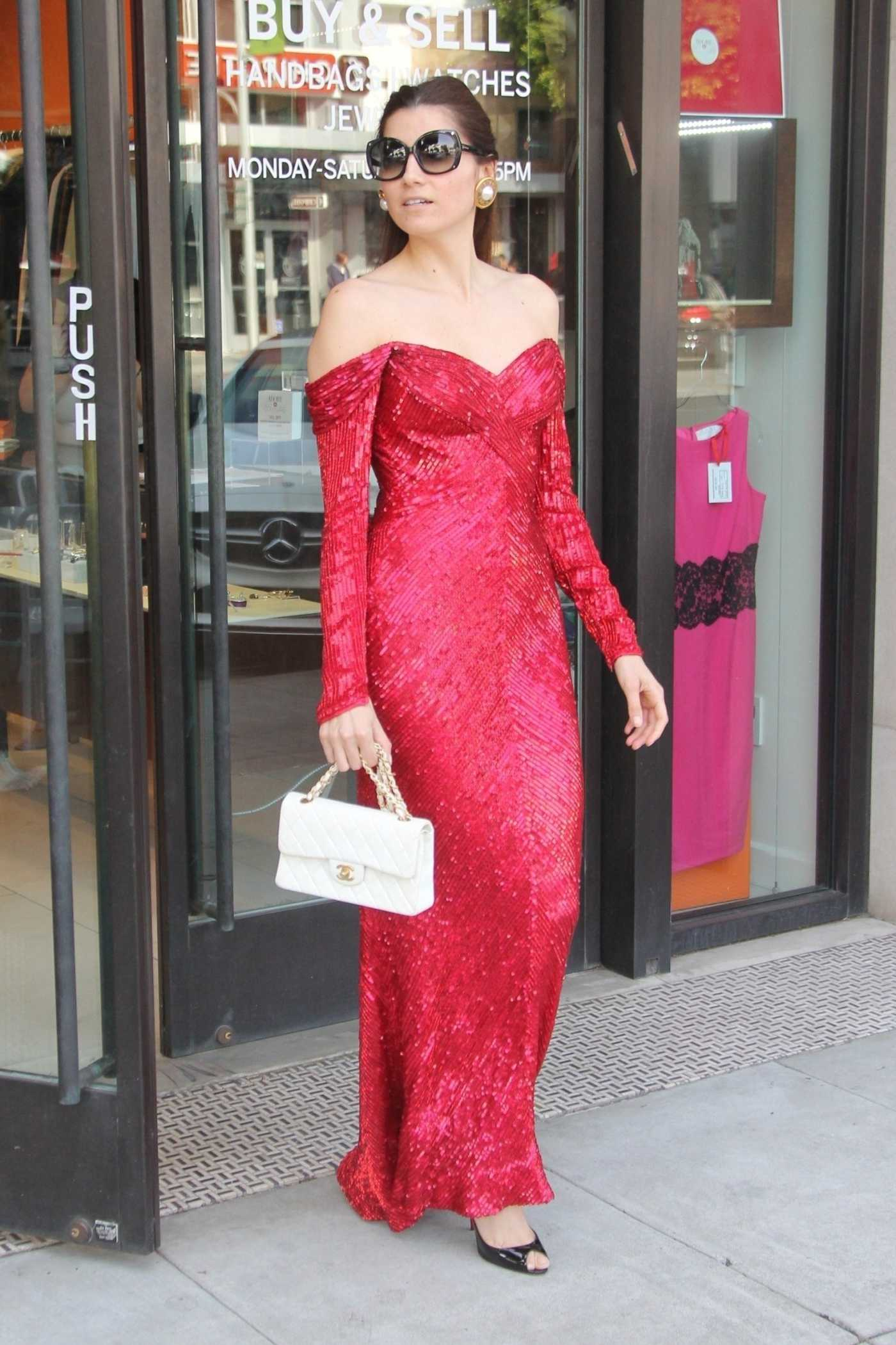 Blanca Blanco in a Red Dress Goes Shopping in Beverly Hills 03/30/2019