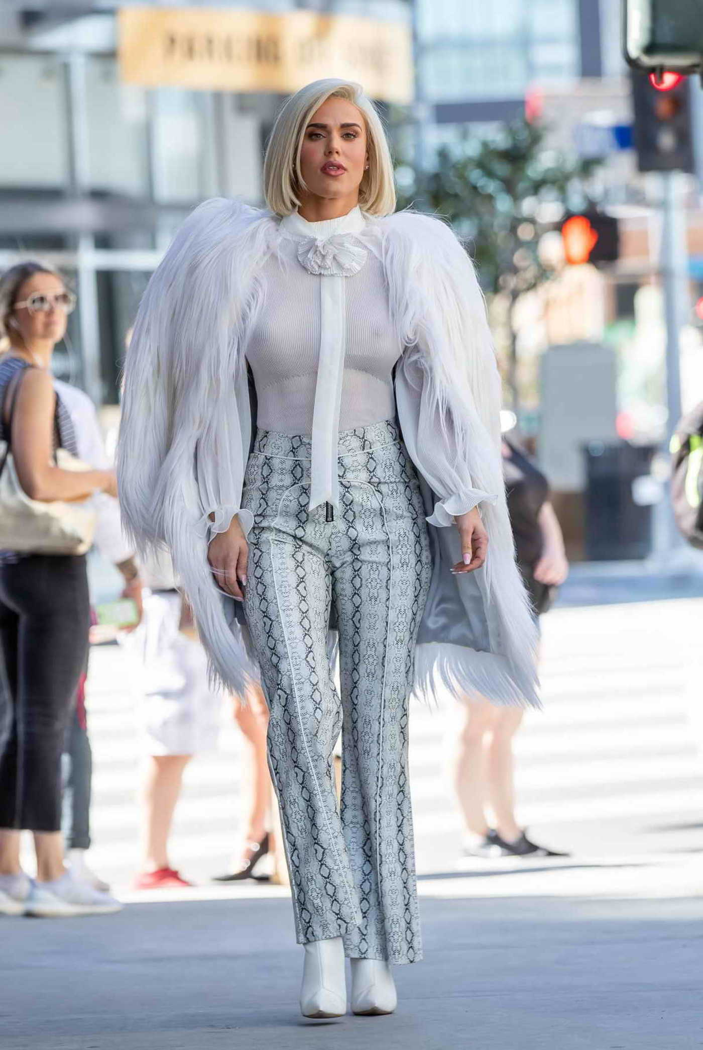 CJ Perry in a Gray Snakeskin Pants Was Seen Out in Hollywood 03/20/2019