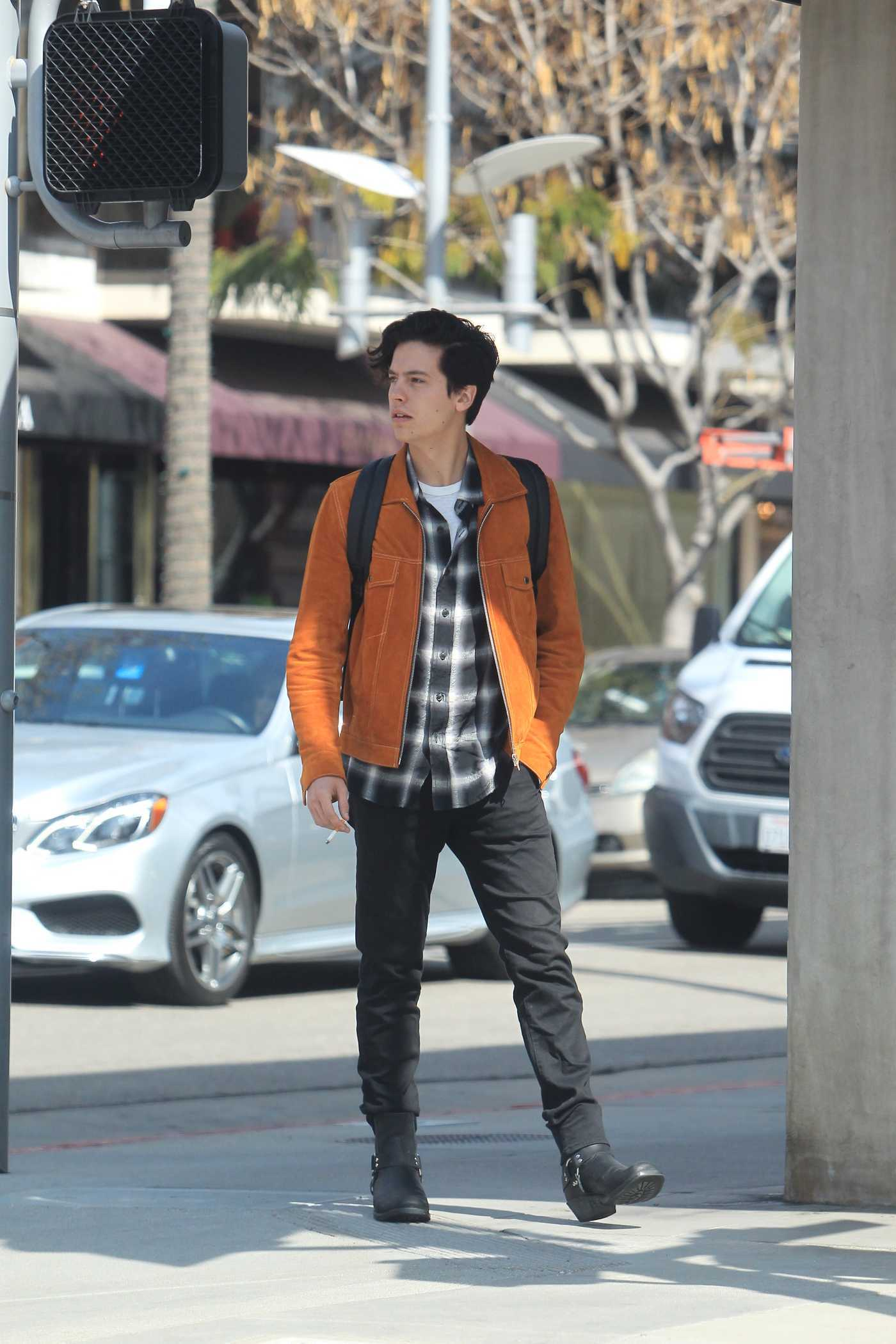 Cole Sprouse in an Orange Jacket Was Seen Out in Beverly Hills 02/26/2019