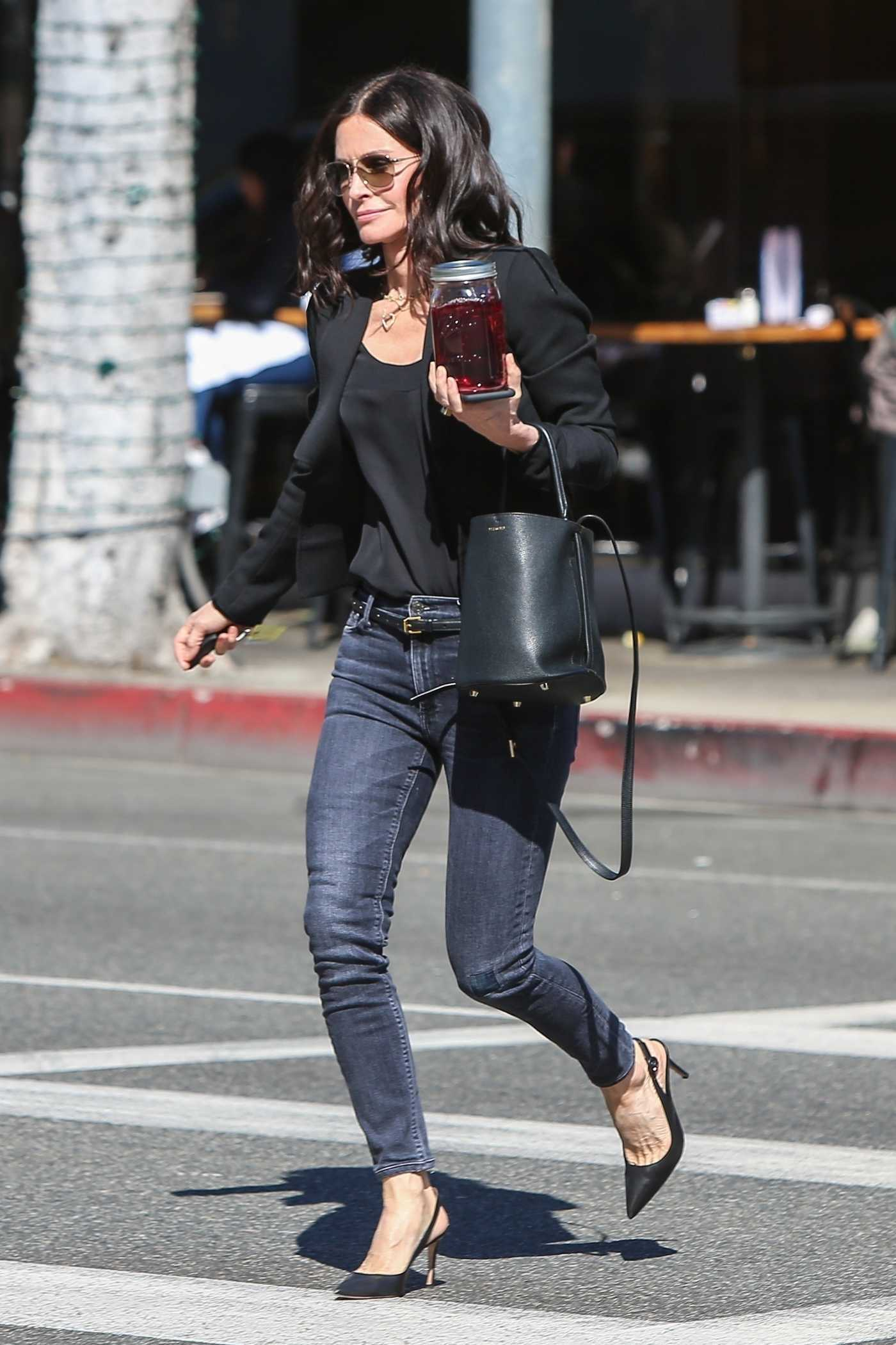Courteney Cox in a Black Blazer Was Seen Out in Beverly Hills 03/21/2019