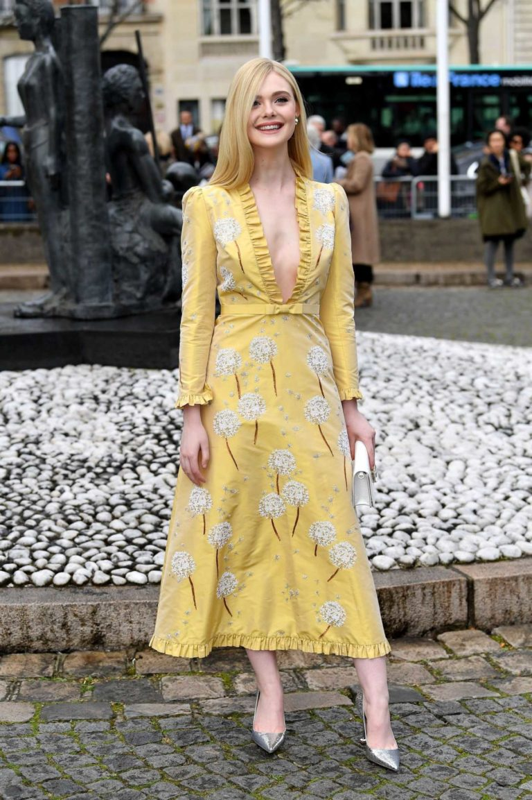 Elle Fanning in a Yellow Floral Dress