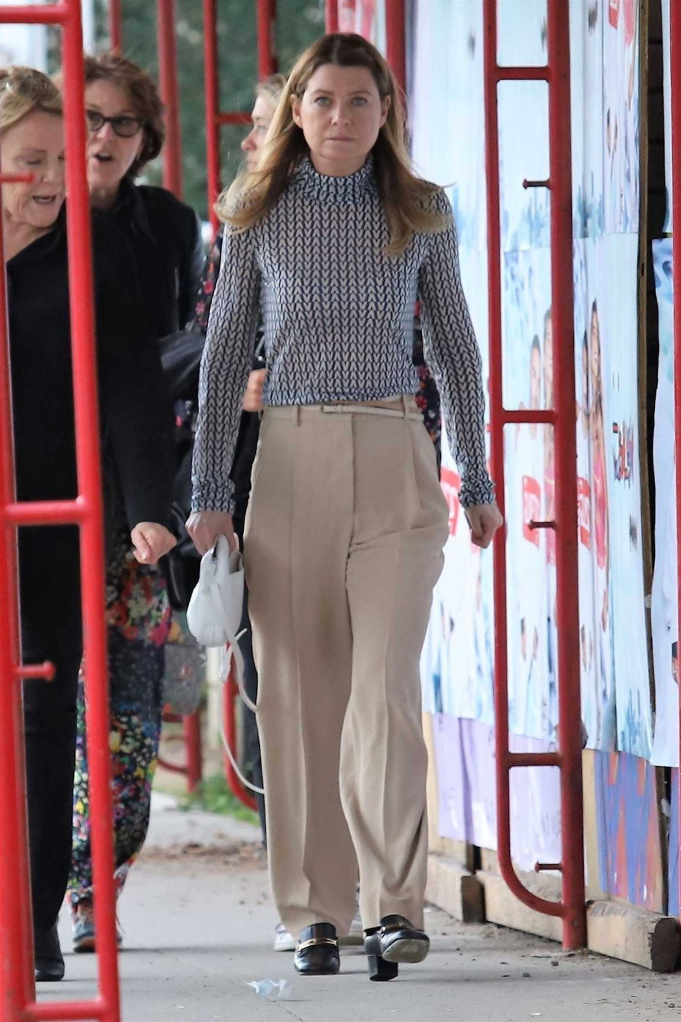 Ellen Pompeo in a Beige Pants Out for Lunch in Los Angeles 03/05/2019