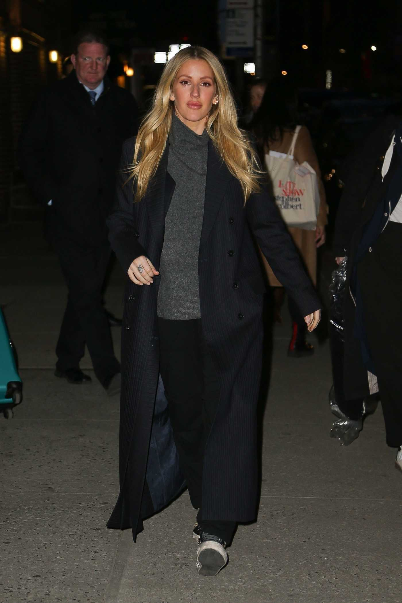 Ellie Goulding in a Black Coat Visits The Late Show with Stephen Colbert in NYC 03/11/2019