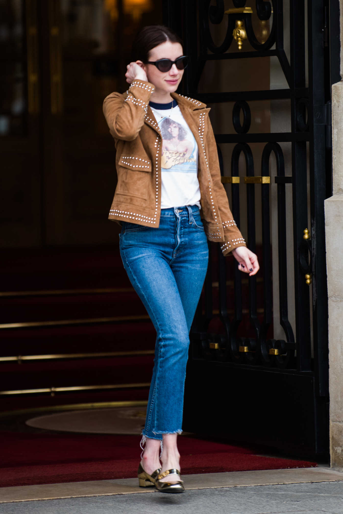 Emma Roberts in a Beige Leather Jacket Leaves Ritz Hotel in Paris 03/06/2019