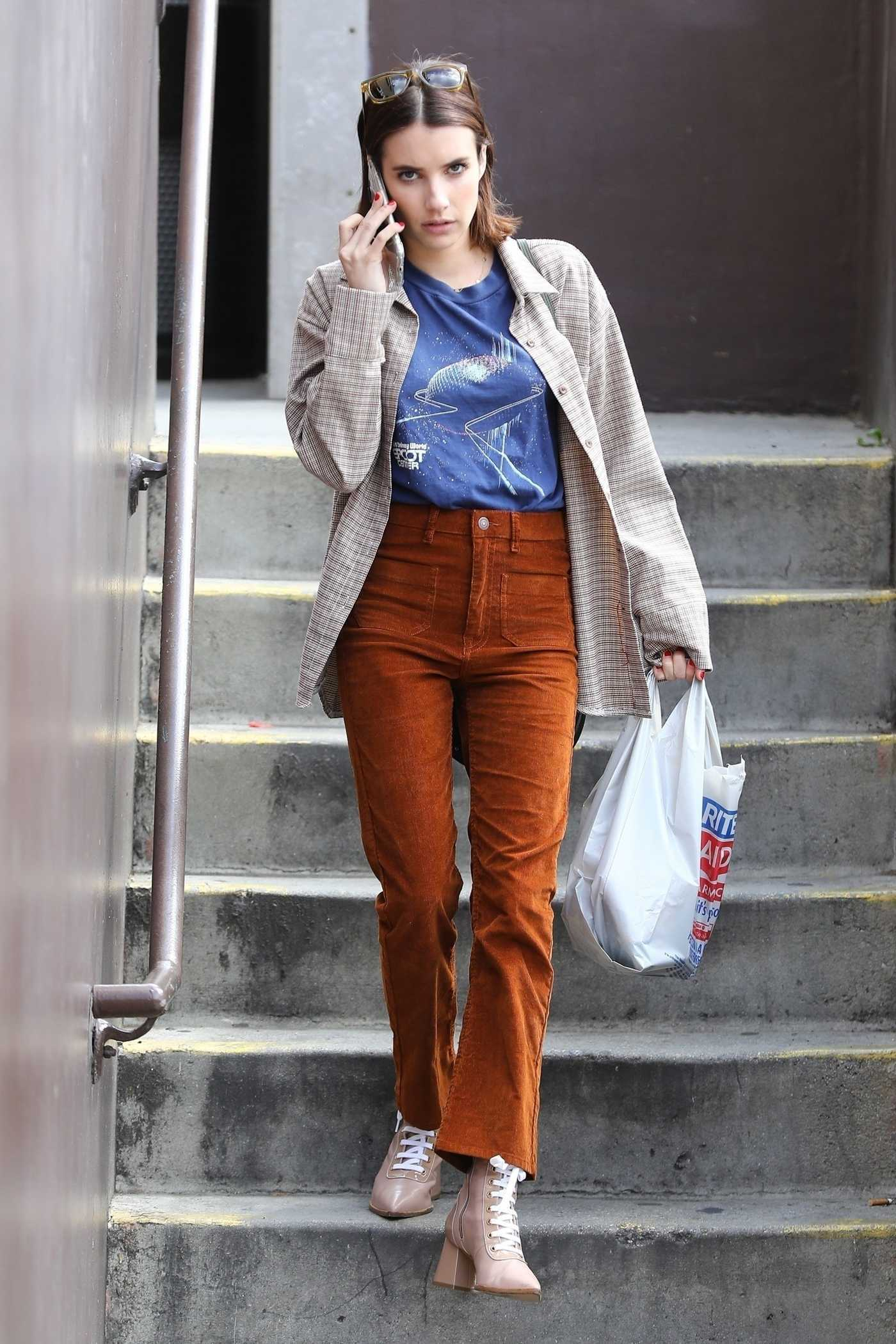 Emma Roberts in a Brown Pants Was Seen Out in LA 03/21/2019