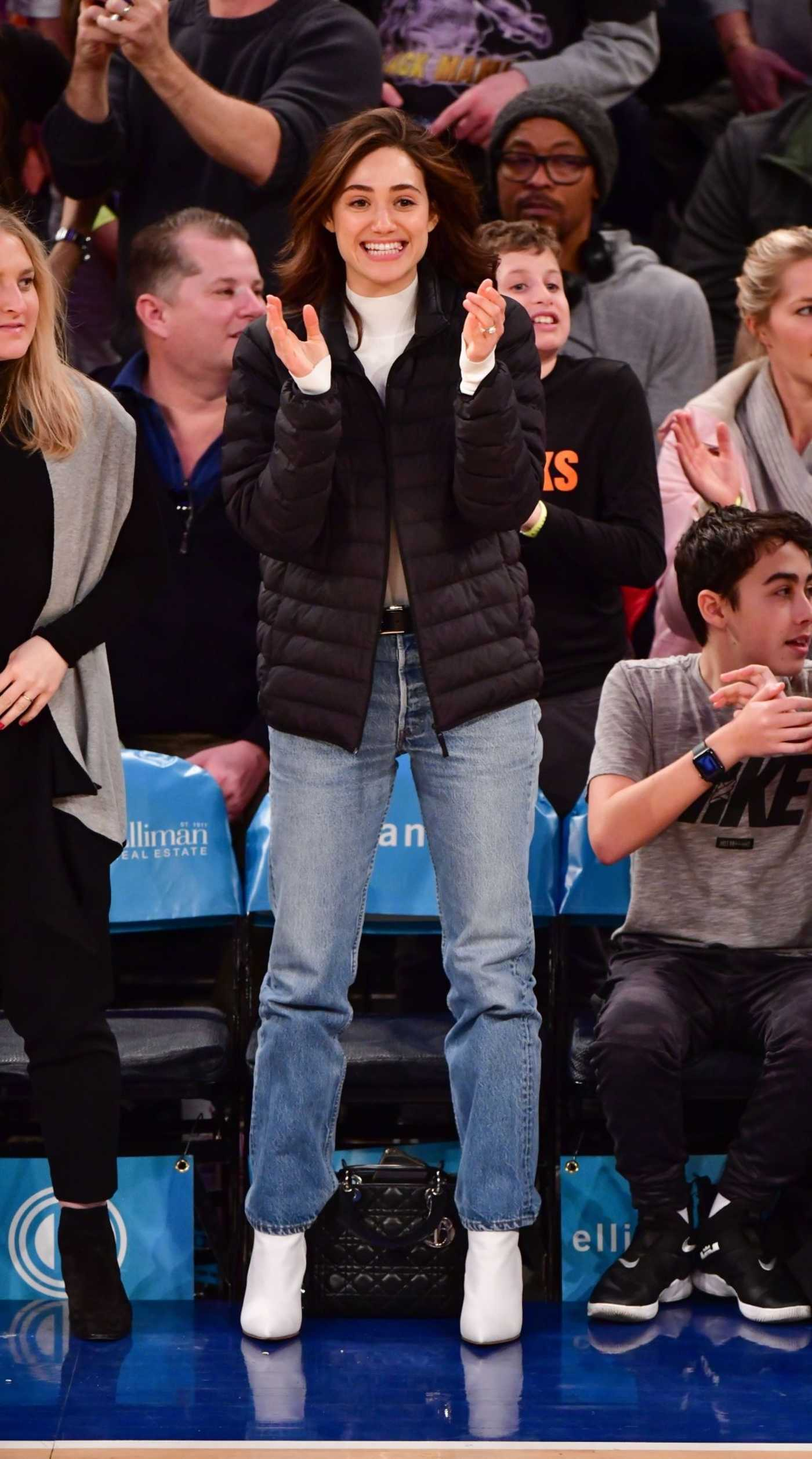 Emmy Rossum Attends the Game Between the Los Angeles Lakers and New York Knicks in NYC 03/17/2019