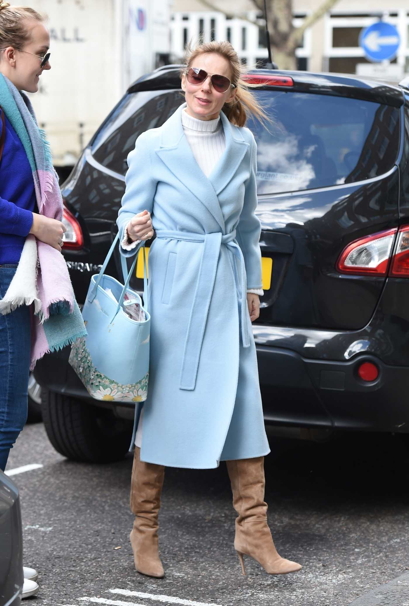 Geri Halliwell in a Light Blue Coat Was Seen Out in London 03/25/2019