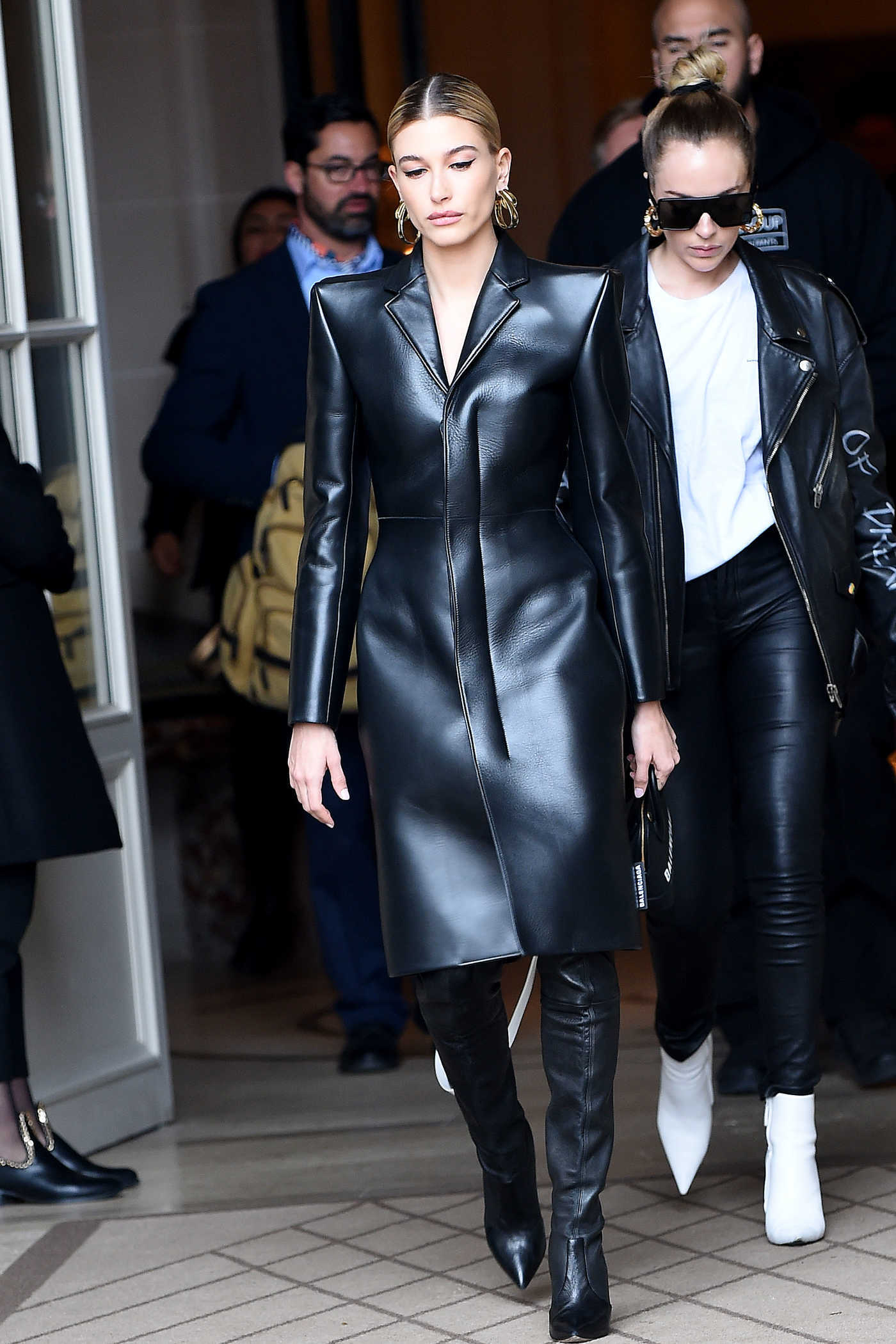 Hailey Baldwin in a Black Leather Coat Leaves Her Hotel in Paris 03/03/2019
