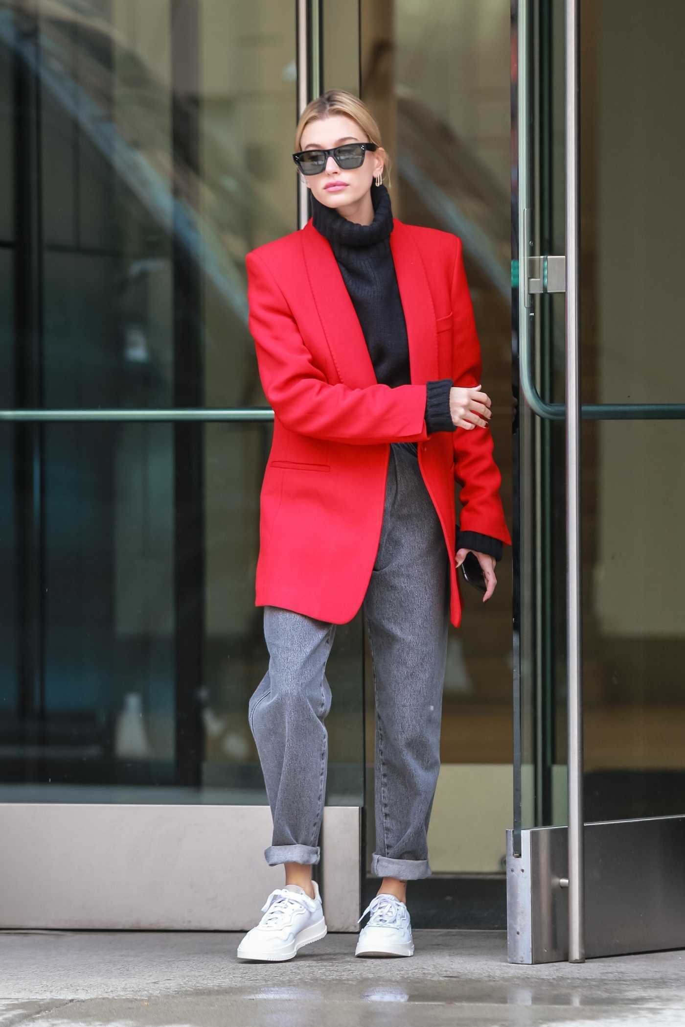 Hailey Baldwin in a Red Blazer Was Seen Out in NYC 03/08/2019