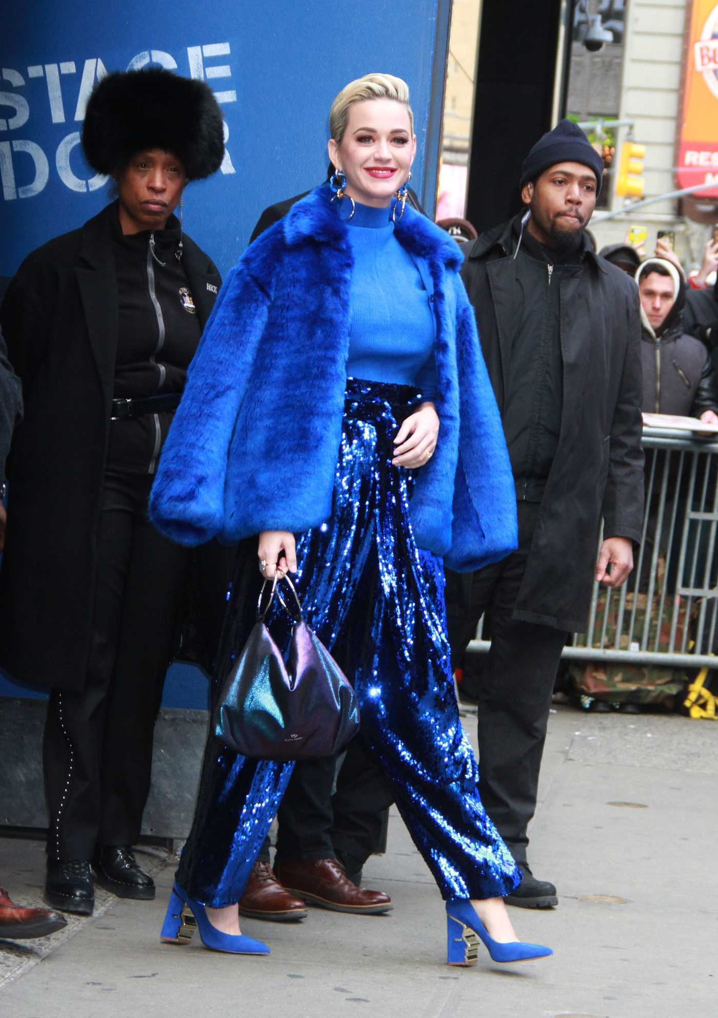 Katy Perry in a Blue Fur Coat Arrives at Good Morning Amertica in NYC 02/27/2019