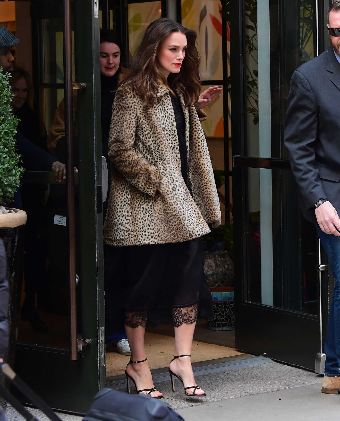Keira Knightley in a Short Leopard Print Fur Coat Leaves Her Hotel in New York City 03/12/2019