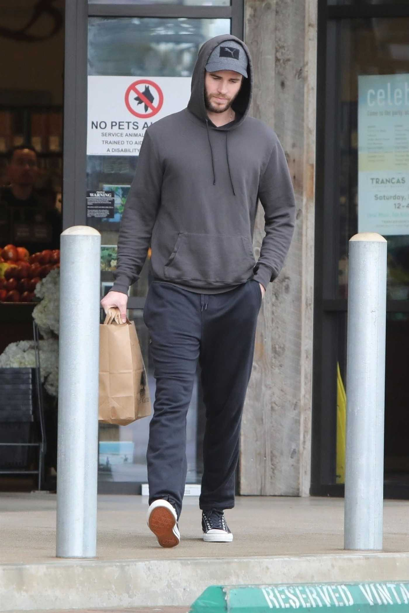 Liam Hemsworth in a Gray Hoody Goes Shopping at the Vintage Grocers in Malibu 03/07/2019