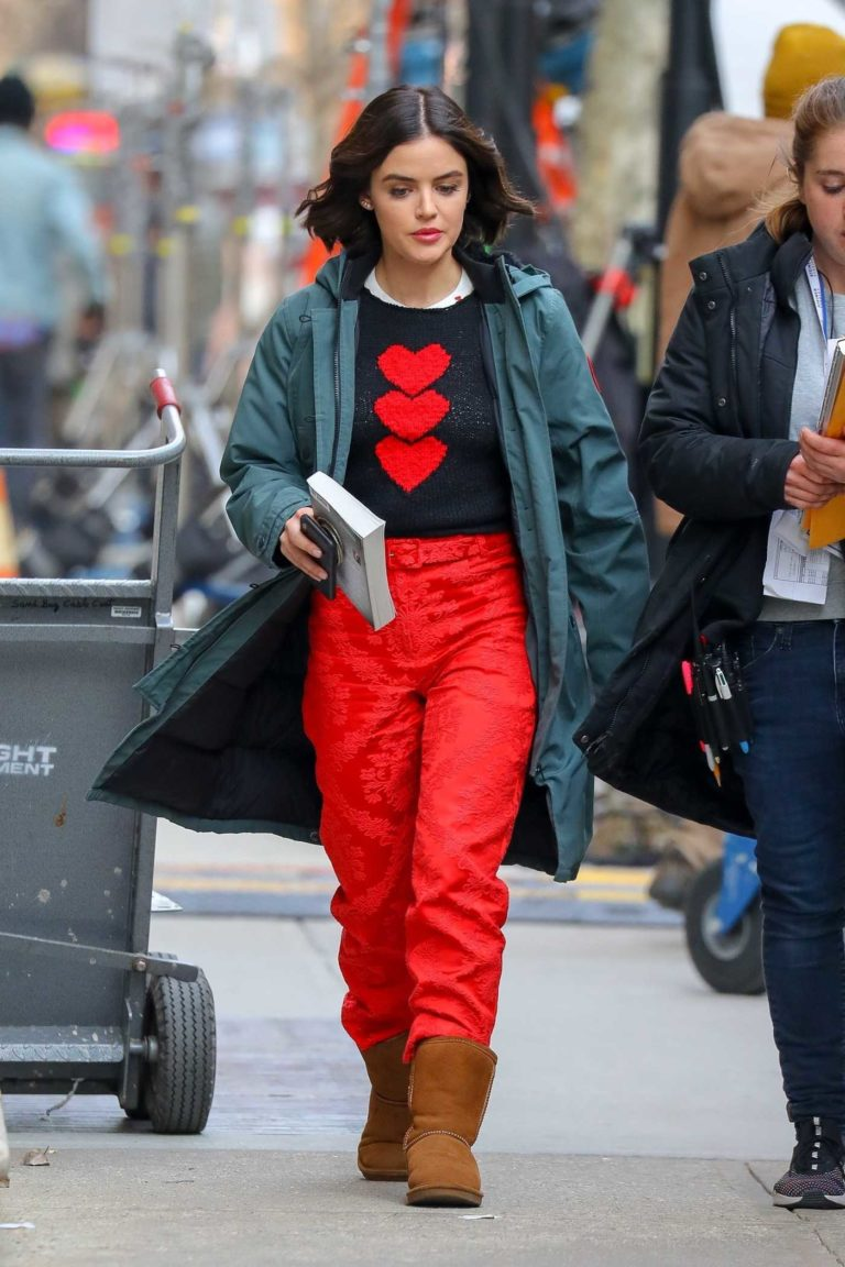 Lucy Hale in a Red Pants