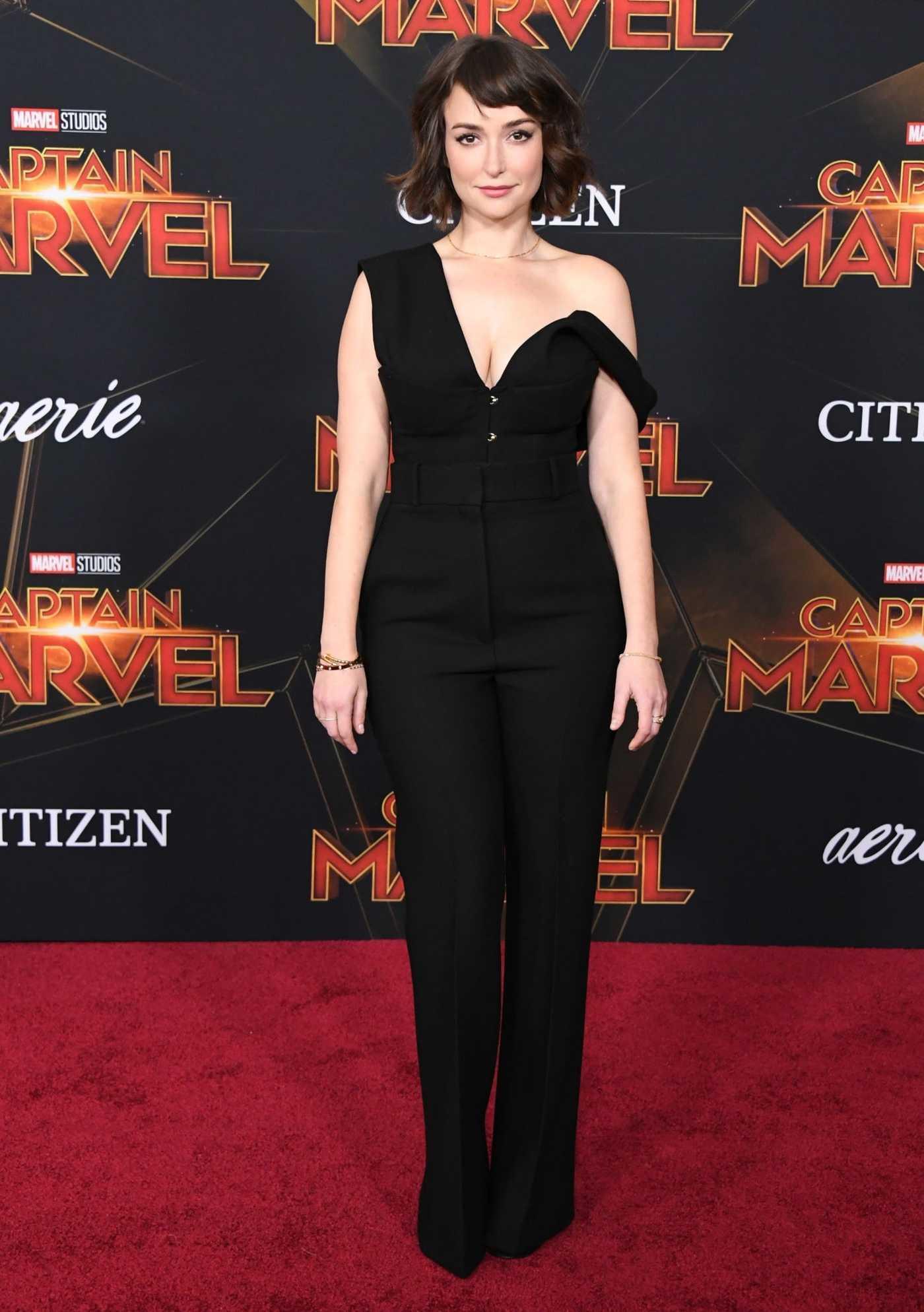 milana vayntrub attends the captain marvel premiere at the el