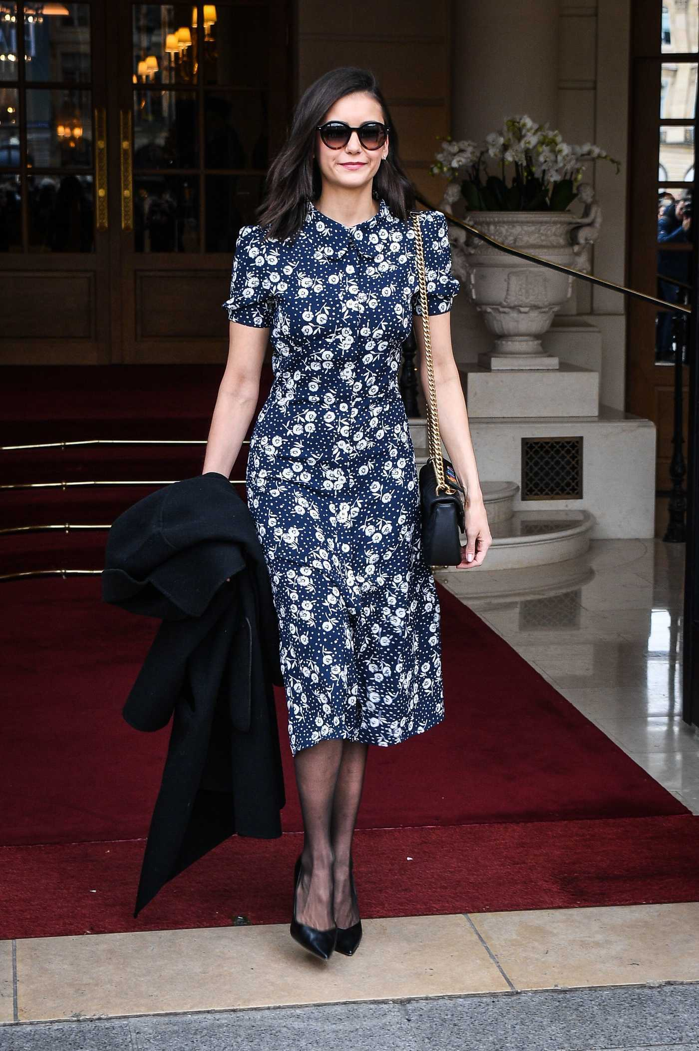 Nina Dobrev in a Floral Dress Was Seen Out in Paris 03/03/2019