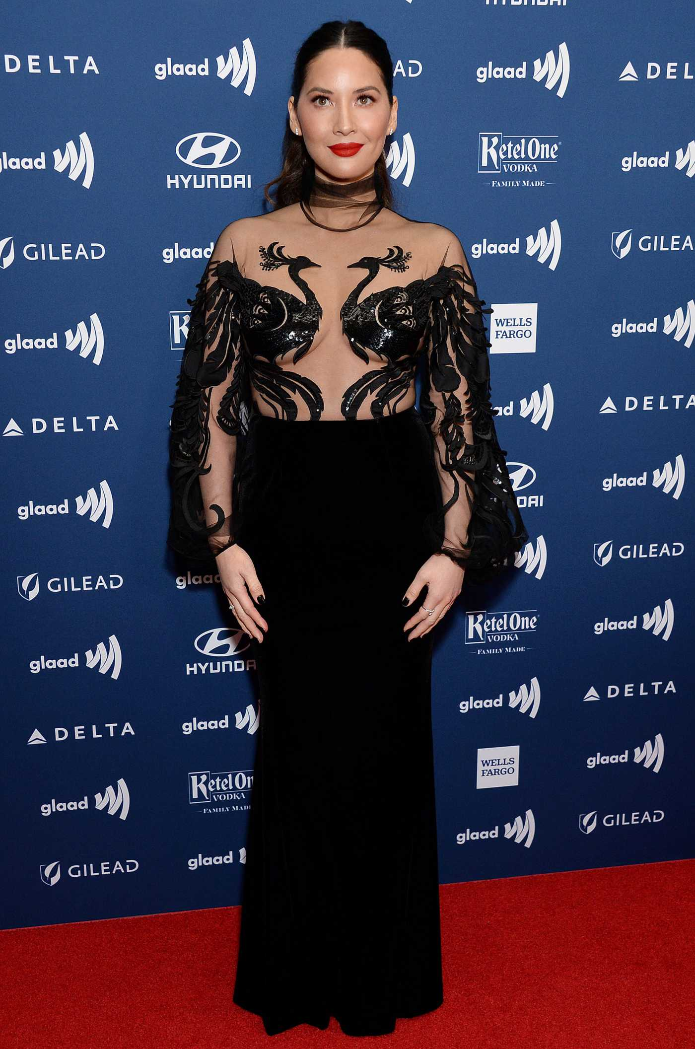 Olivia Munn Attends the 30th Annual GLAAD Media Awards Los Angeles at The Beverly Hilton Hotel in Beverly Hills 03/28/2019
