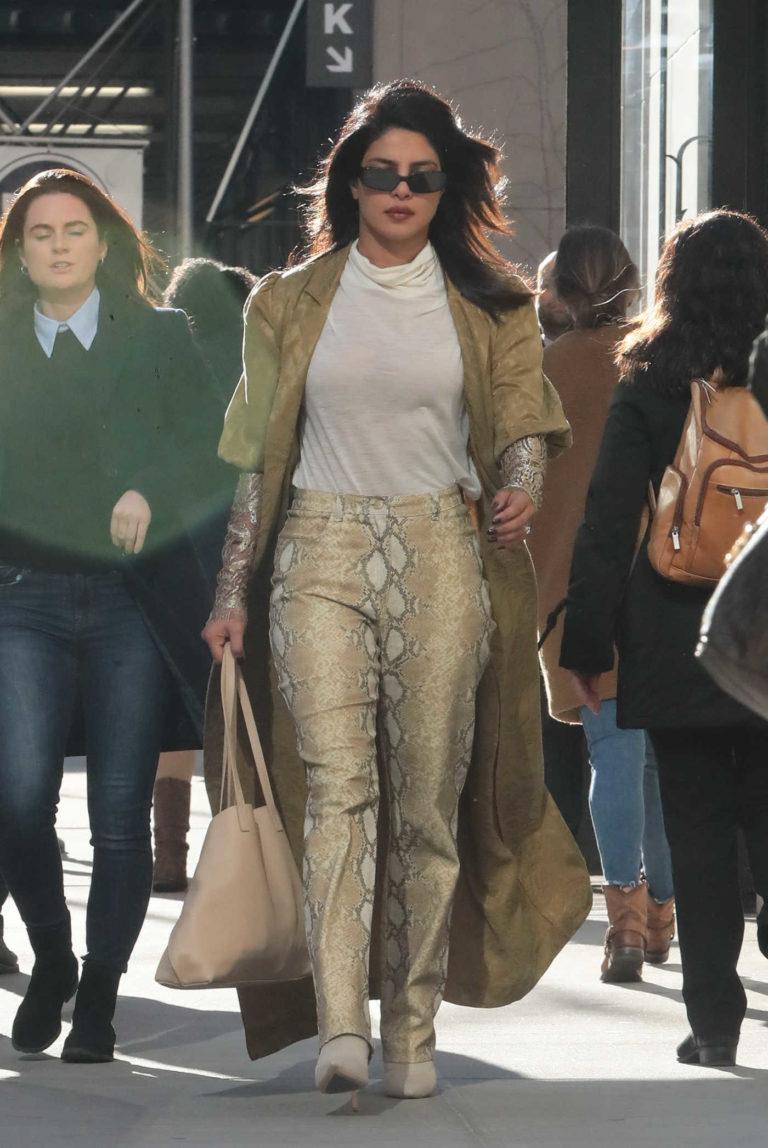Priyanka Chopra in a Yellow Snakeskin Pants