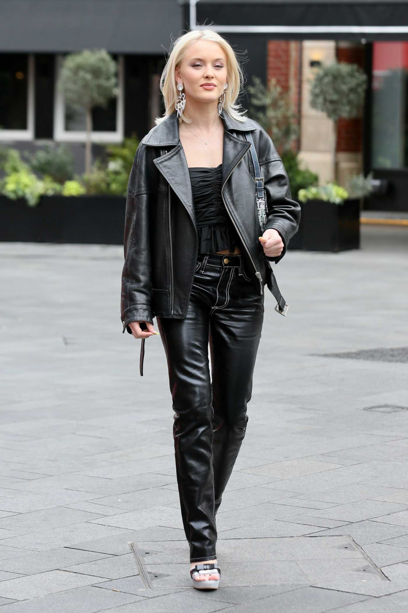 Zara Larsson in a Black Leather Jacket Visits Global Radio Studios in London 03/27/2019