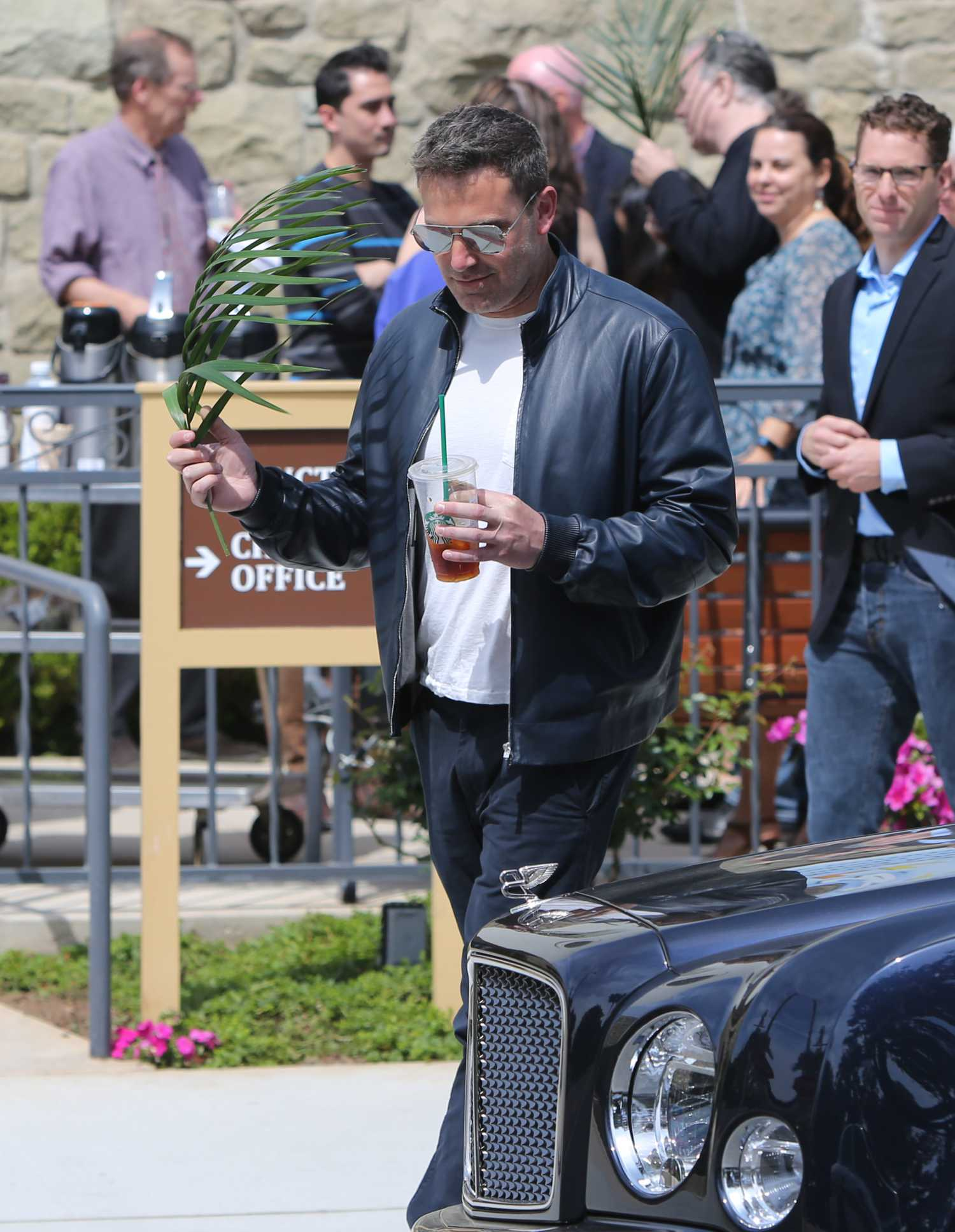 Ben Affleck in a Black Leather Jacket Was Seen Out in Los Angeles 04/14/2019