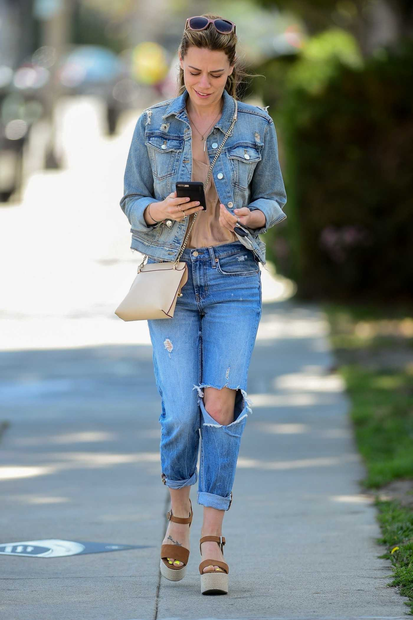 Bethany Joy Lenz in a Blue Ripped Jeans Was Seen Out in Los Angeles 04/10/2019
