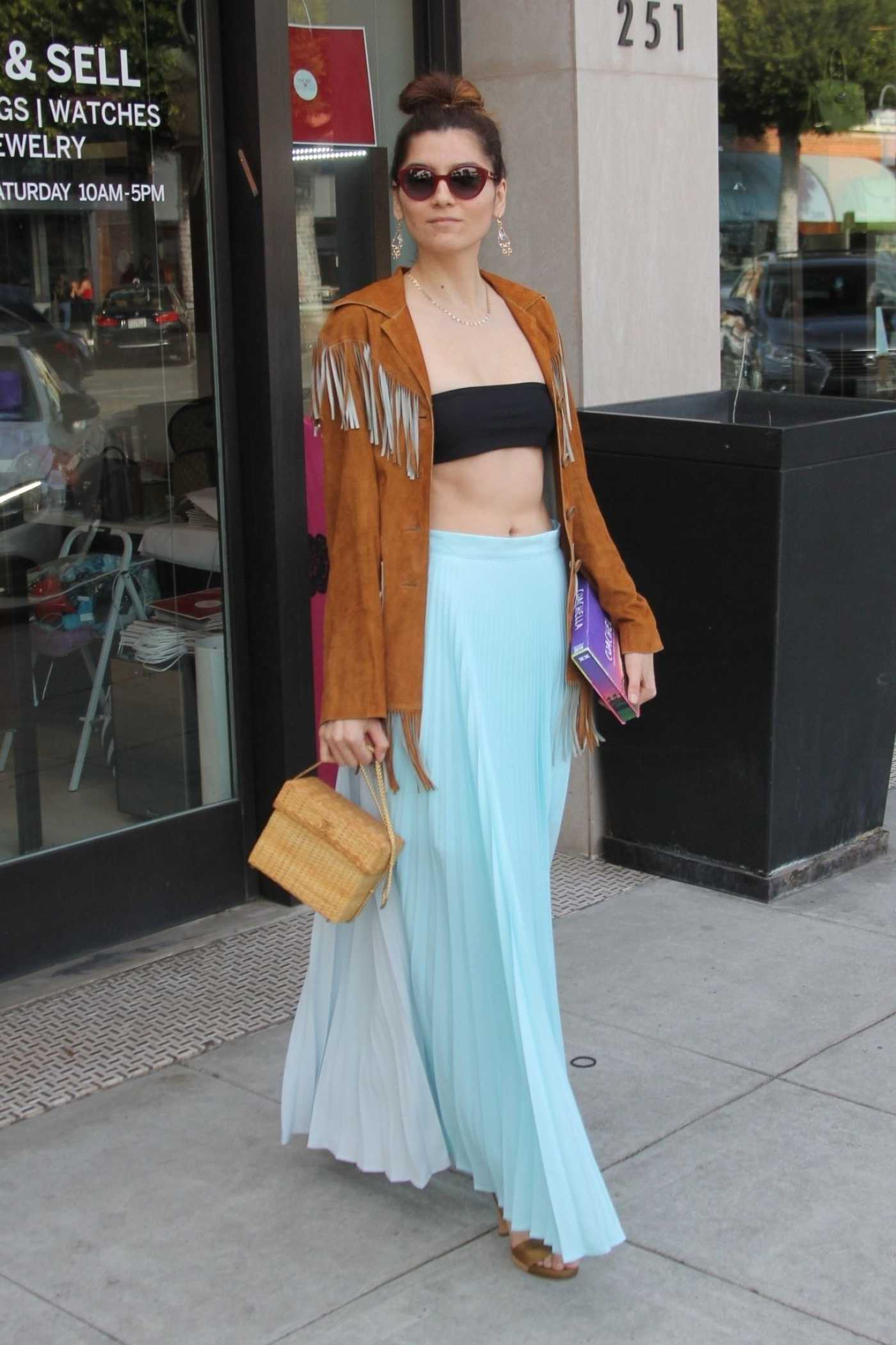 Blanca Blanco in a Blue Skirt Goes Shopping in Beverly Hills 03/31/2019