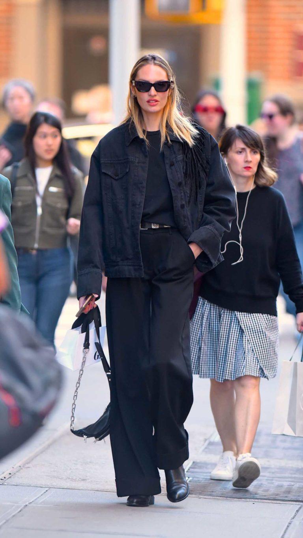Candice Swanepoel in a Black Denim Jacket