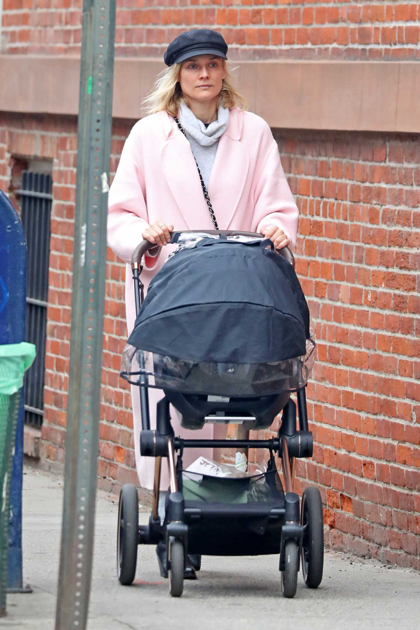 Diane Kruger in a Pink Coat Was Seen Out in NYC 04/18/2019