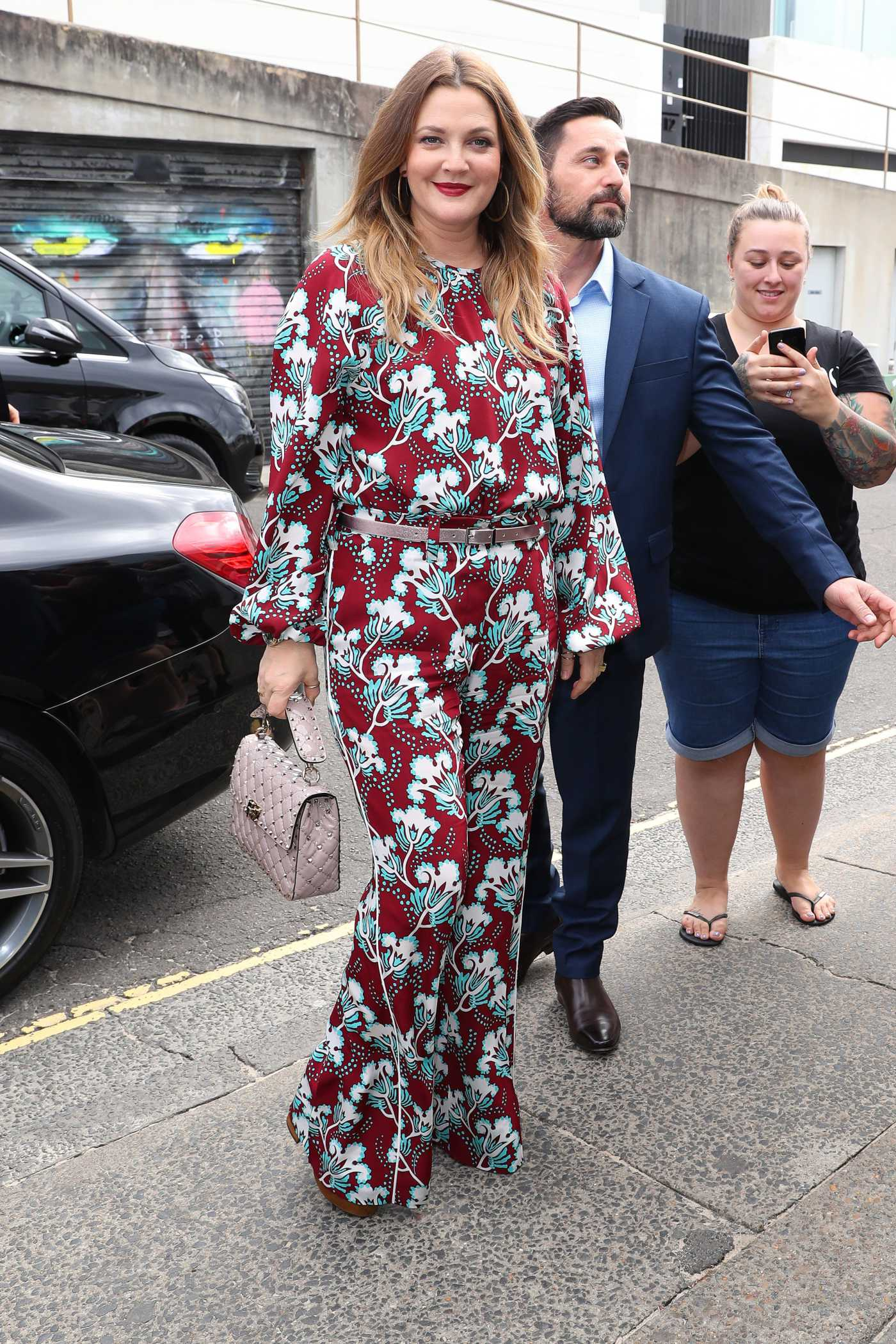 Drew Barrymore in a Floral Suit Was Seen Out in Sydney 04/12/2019